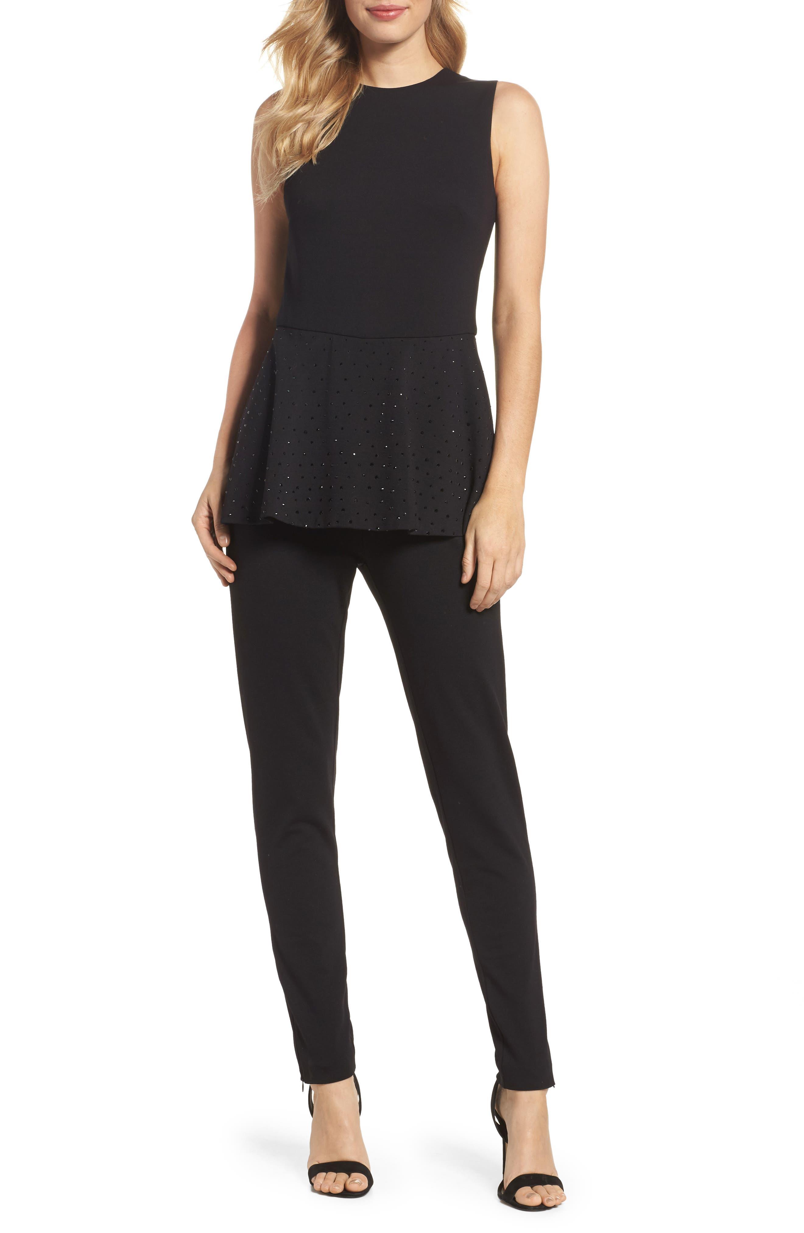 Alternate Image 1 Selected - Eliza J Peplum Jumpsuit (Regular & Petite)