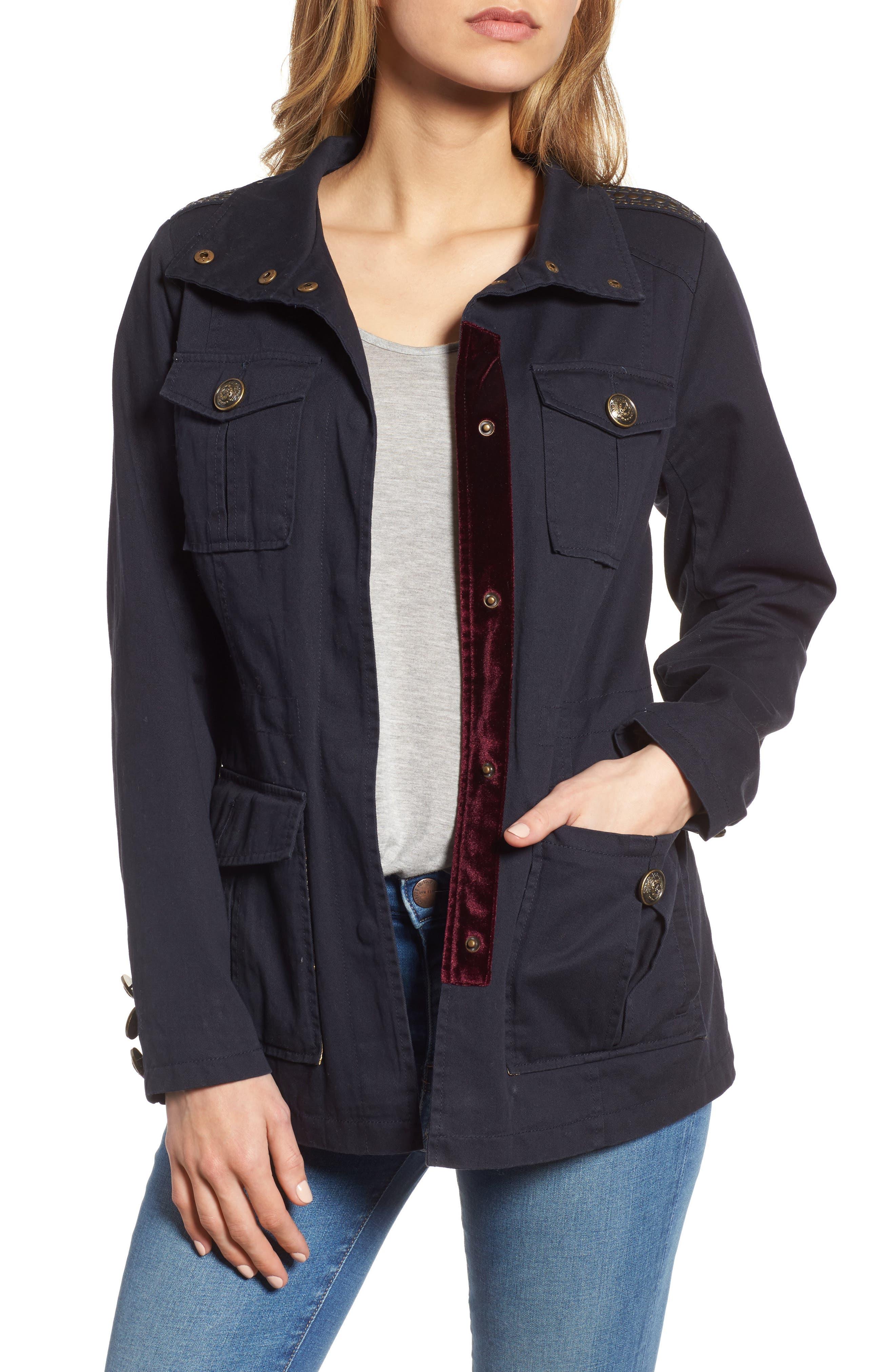 Embellished Utility Jacket,                         Main,                         color, Navy