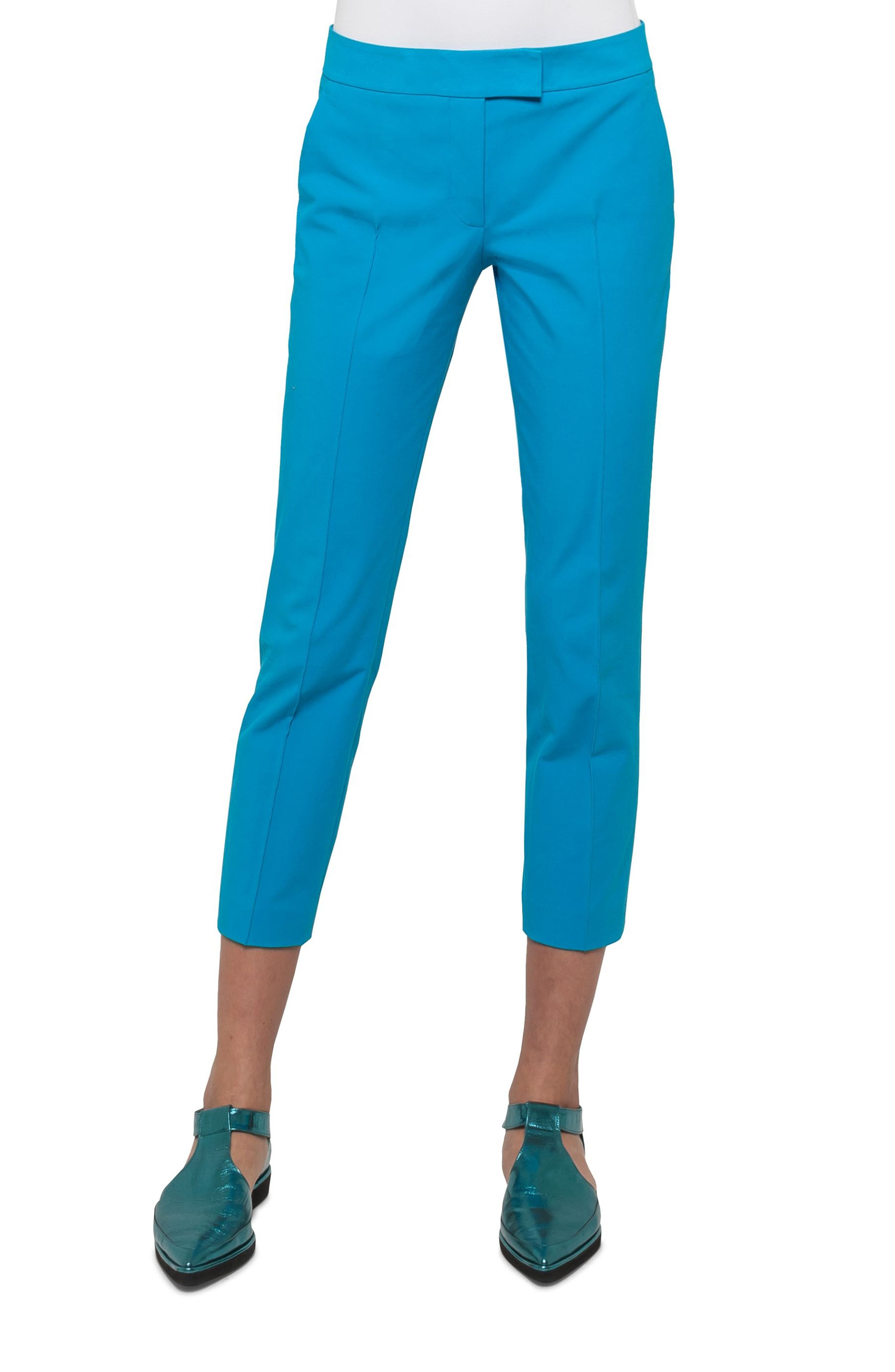 Frankie Stretch Cotton Pants,                             Main thumbnail 1, color,                             Turquoise