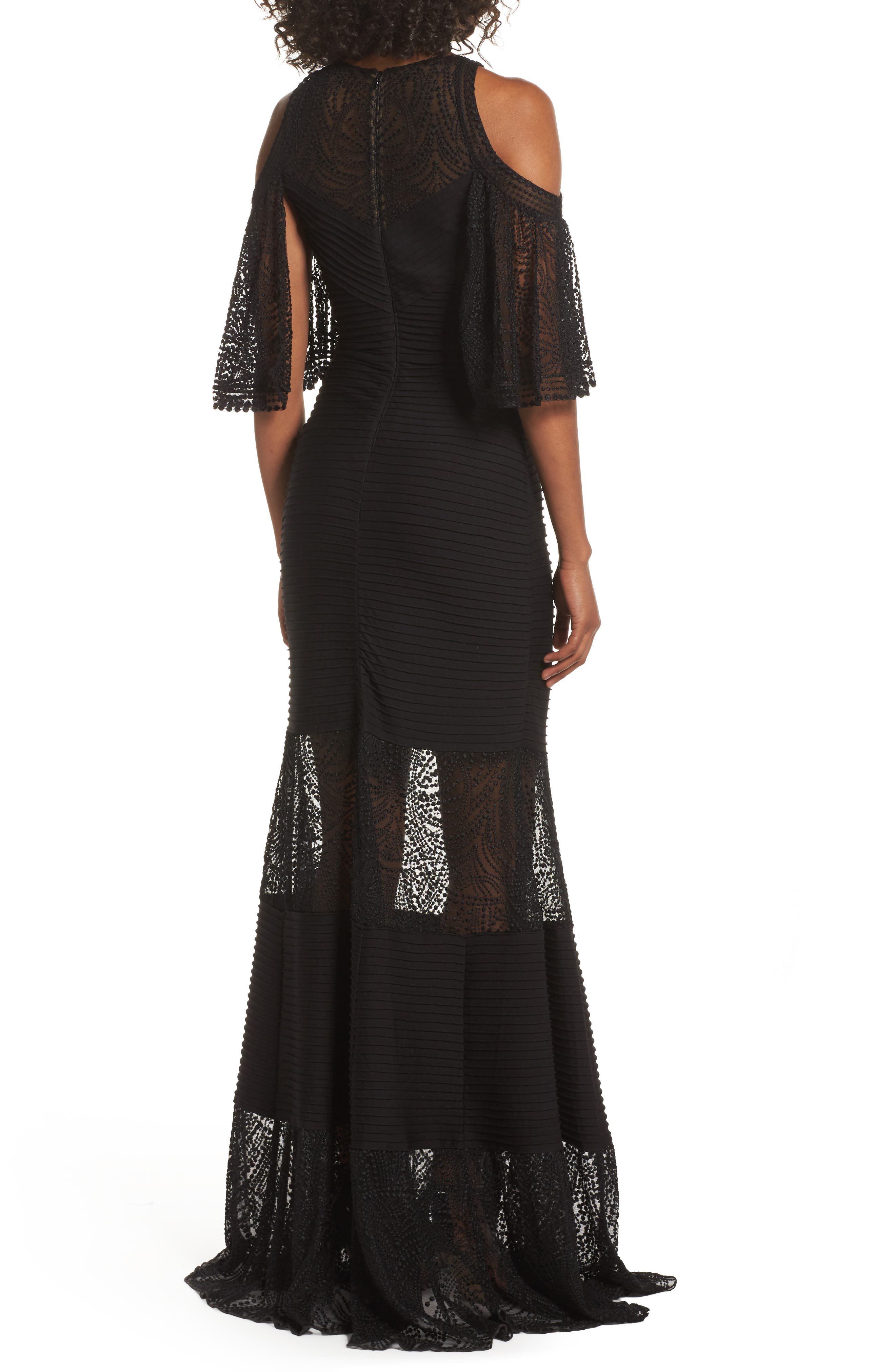 Embroidered Pintuck Cold Shoulder Gown,                             Alternate thumbnail 2, color,                             Black