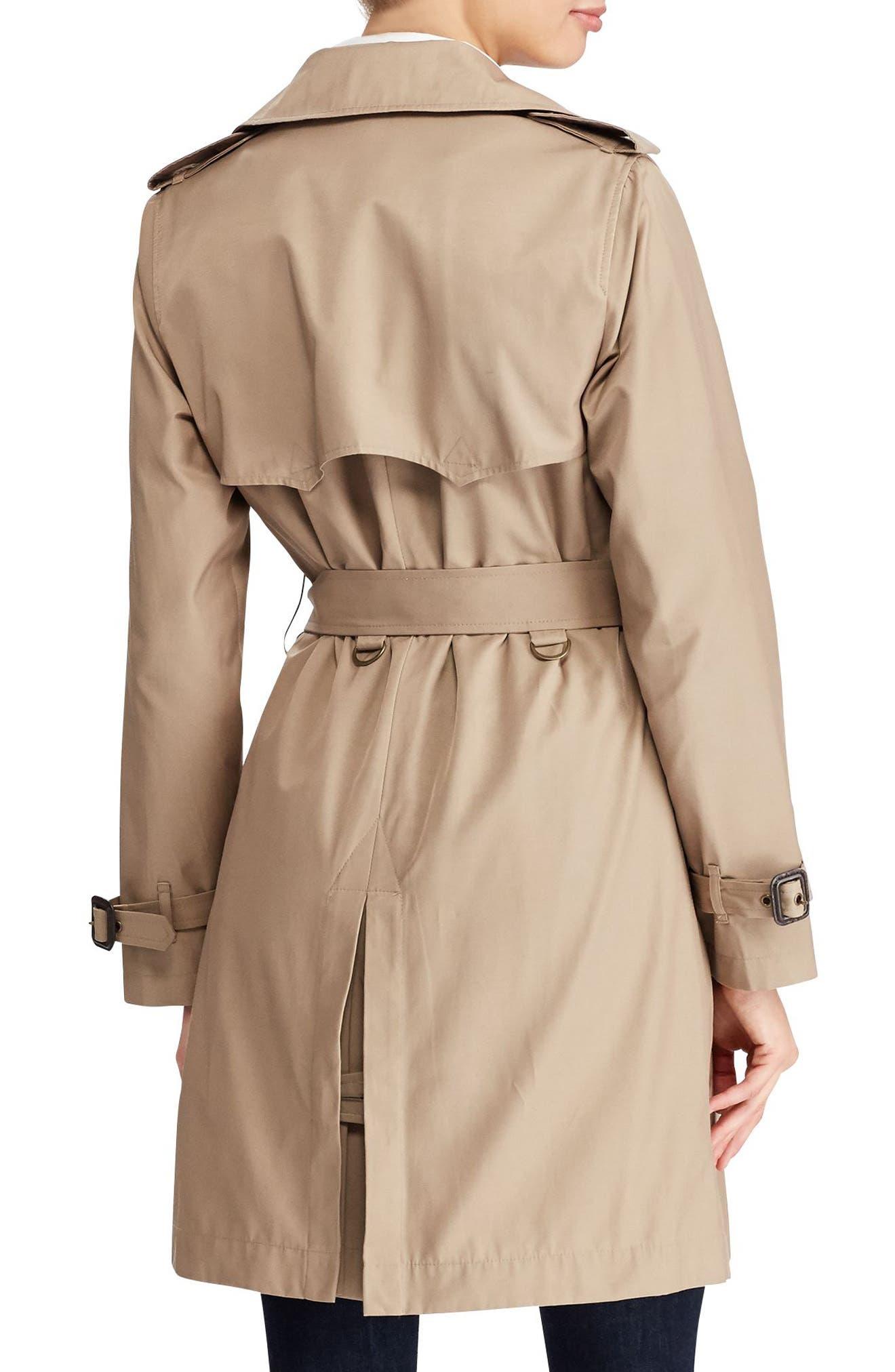 Alternate Image 2  - Lauren Ralph Lauren Cotton Blend A-Line Trench Coat