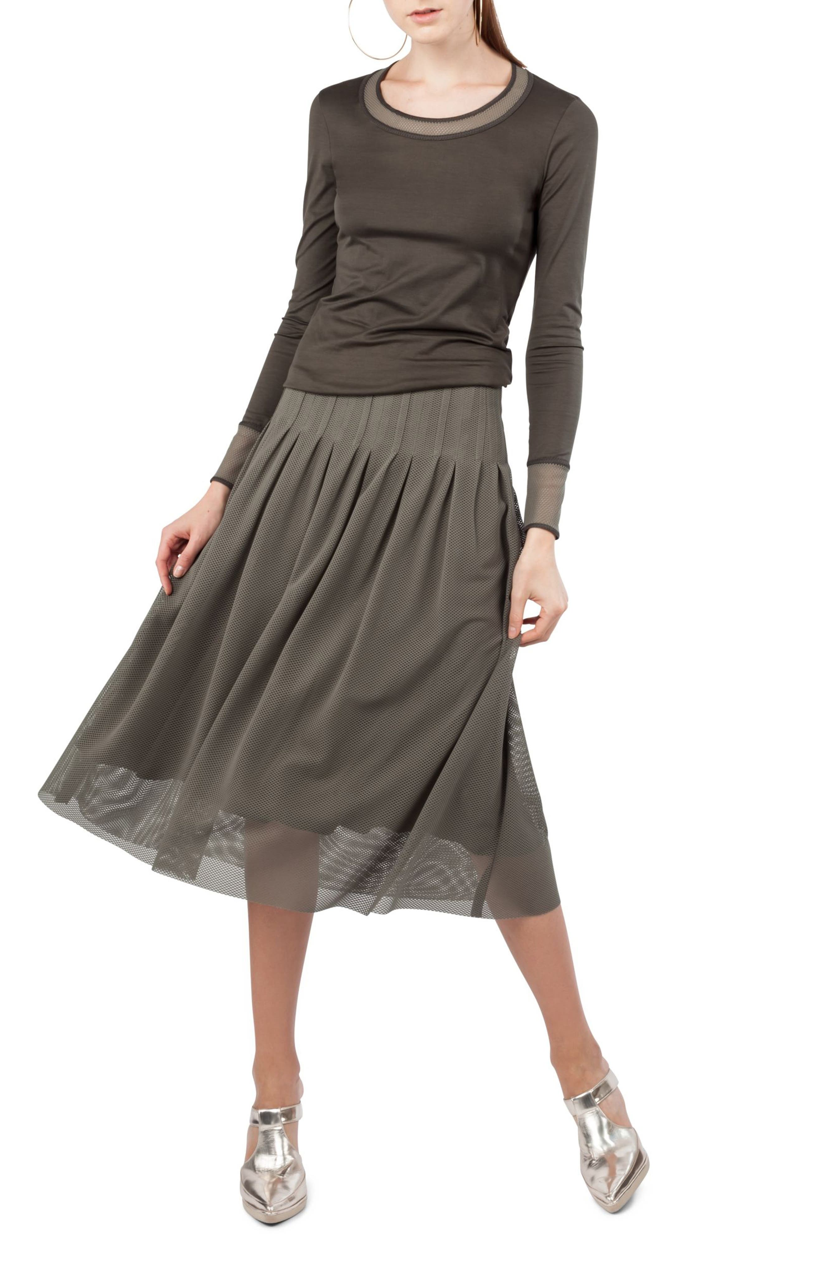 3D Lace Midi Skirt,                             Alternate thumbnail 3, color,                             Avocado