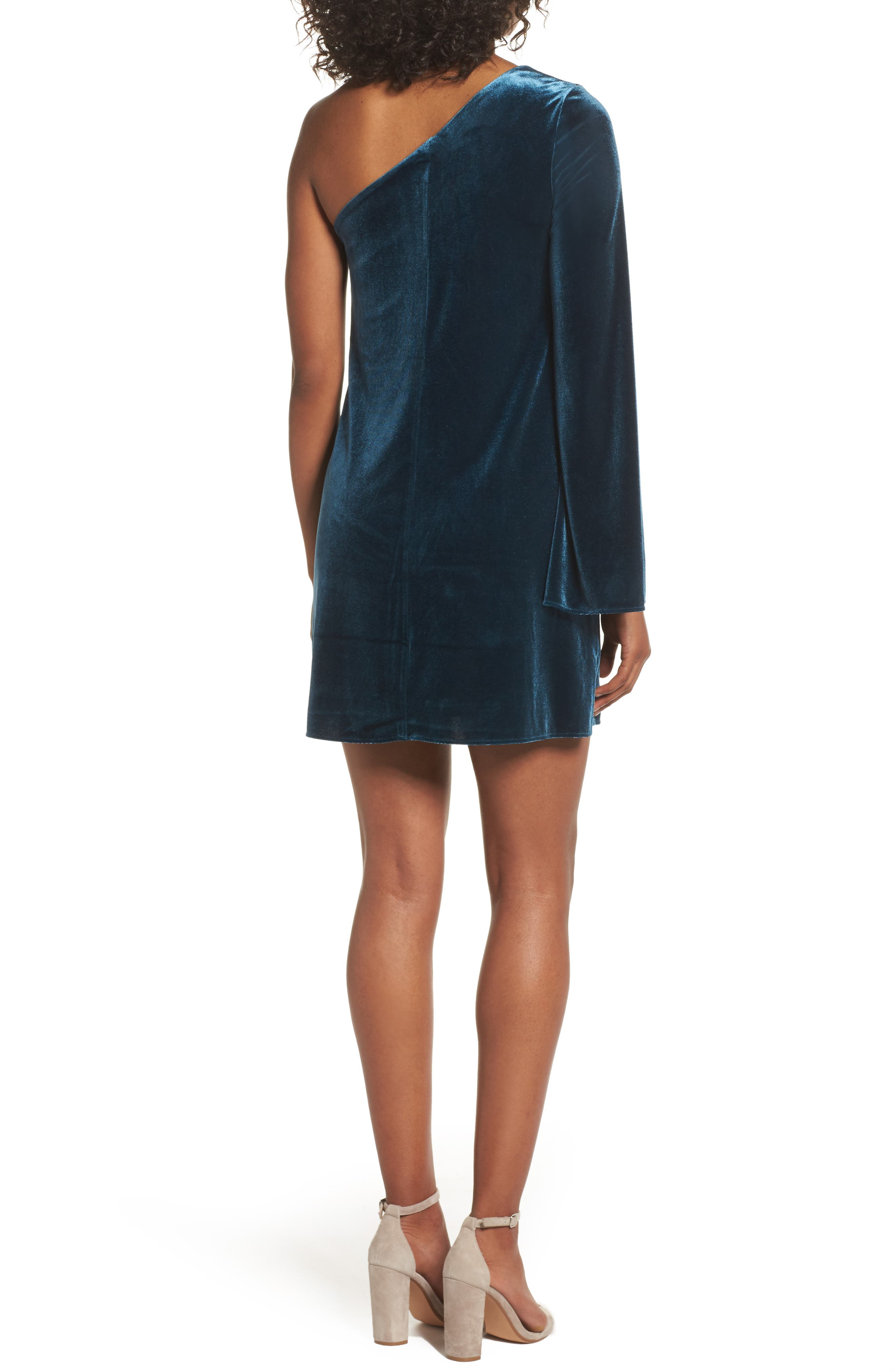 Aurore One-Shoulder Velvet Dress,                             Alternate thumbnail 2, color,                             Deep Teal