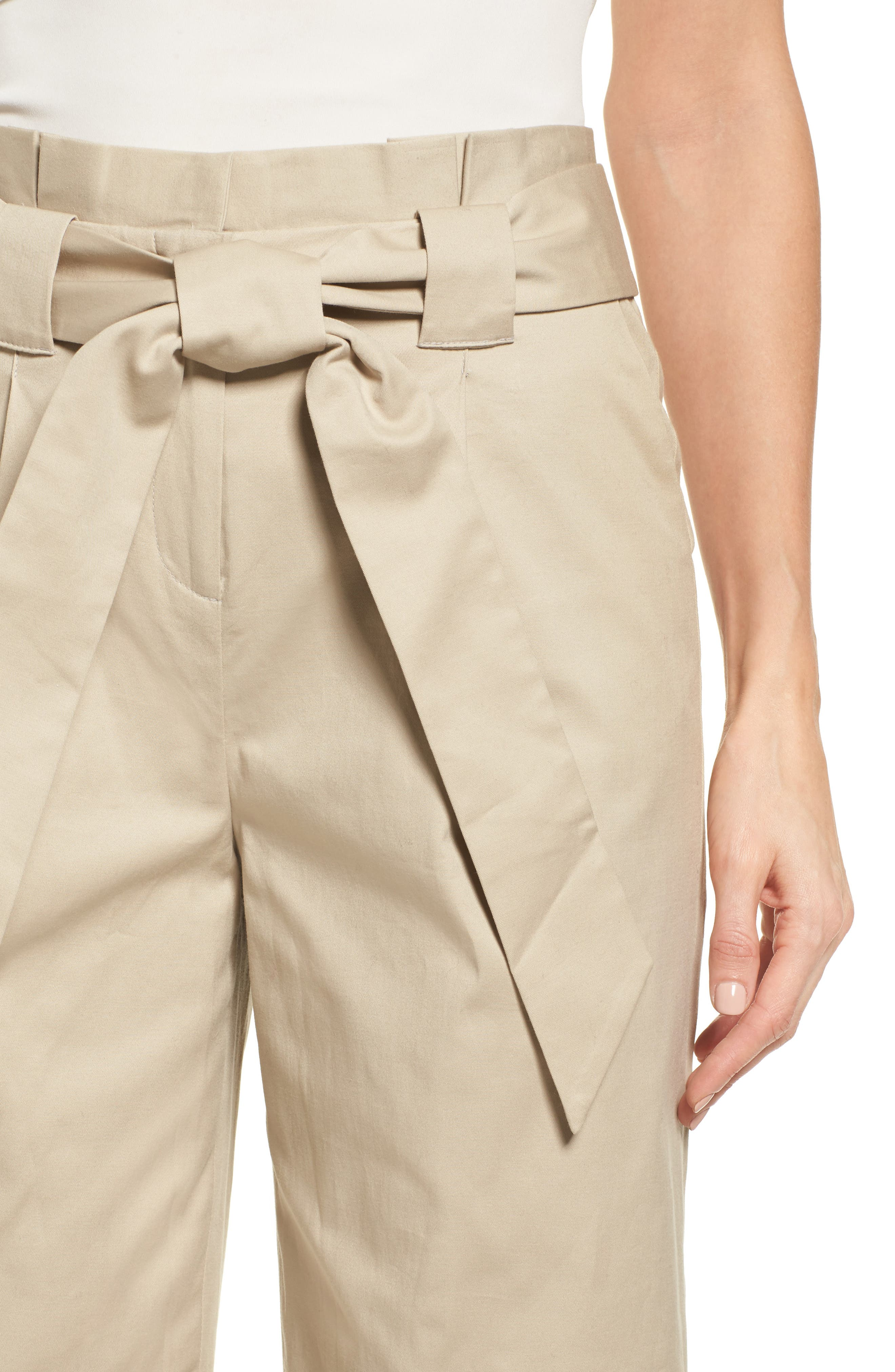 Paperbag Waist Belted Wide Leg Crop Pants,                             Alternate thumbnail 4, color,                             Tan Oxford