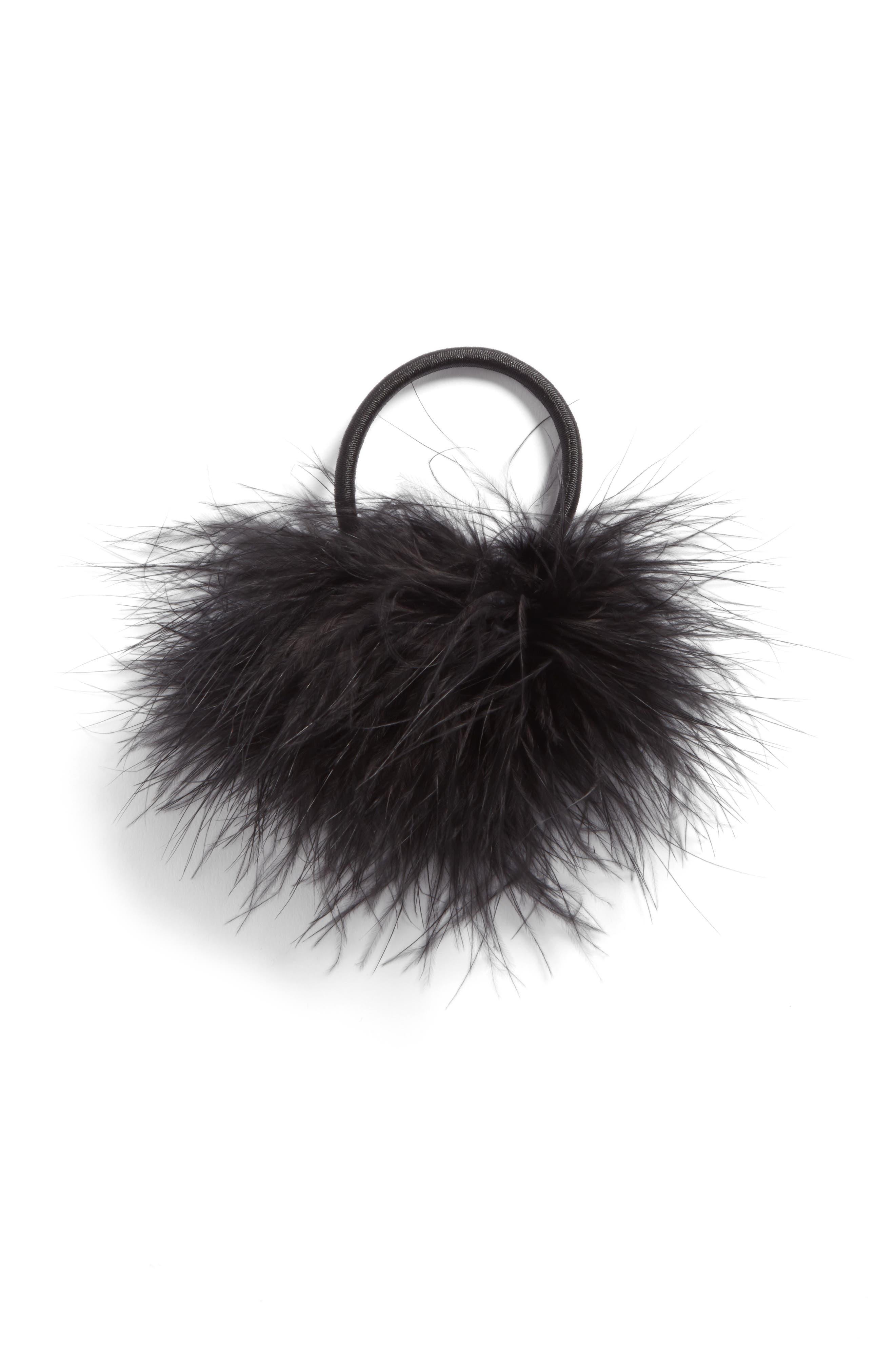 Feather Pompom Ponytail Holder,                             Alternate thumbnail 2, color,                             Black
