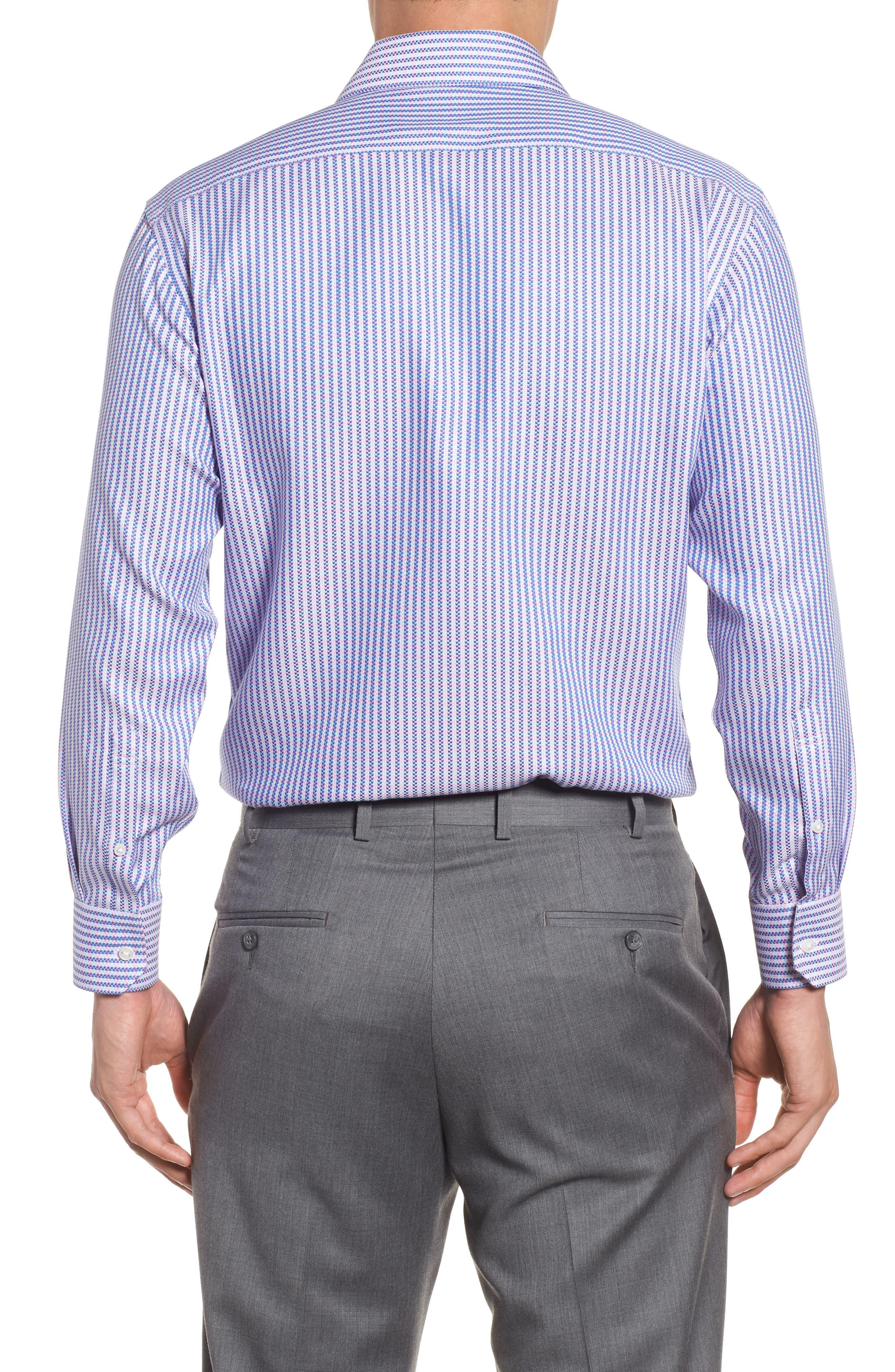 Trim Fit Stripe Dress Shirt,                             Alternate thumbnail 2, color,                             Pink