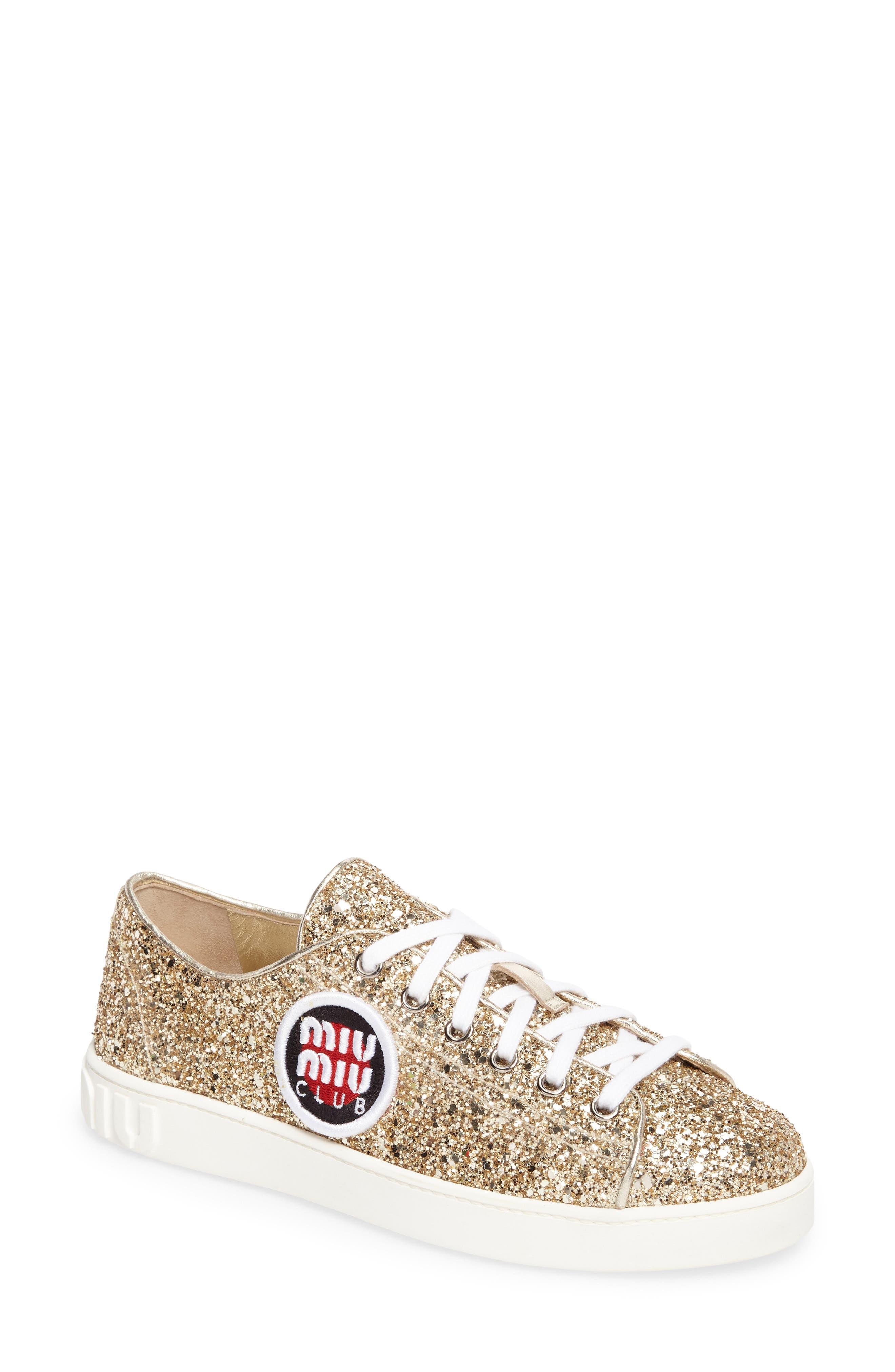 Miu Miu Logo Patch Glitter Sneaker (Women)