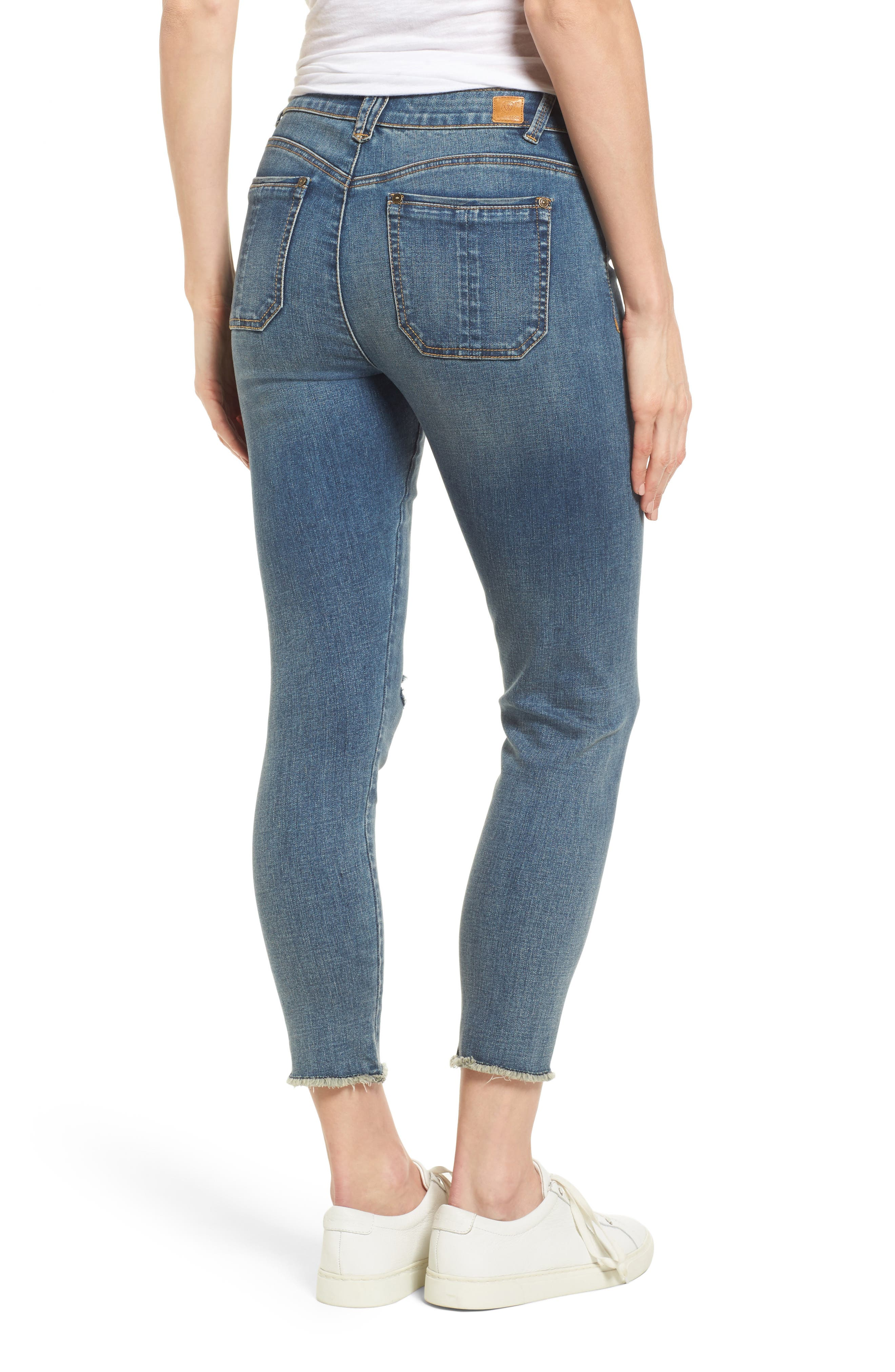 Ripped Seamless Ankle Jeans,                             Alternate thumbnail 2, color,                             Blue