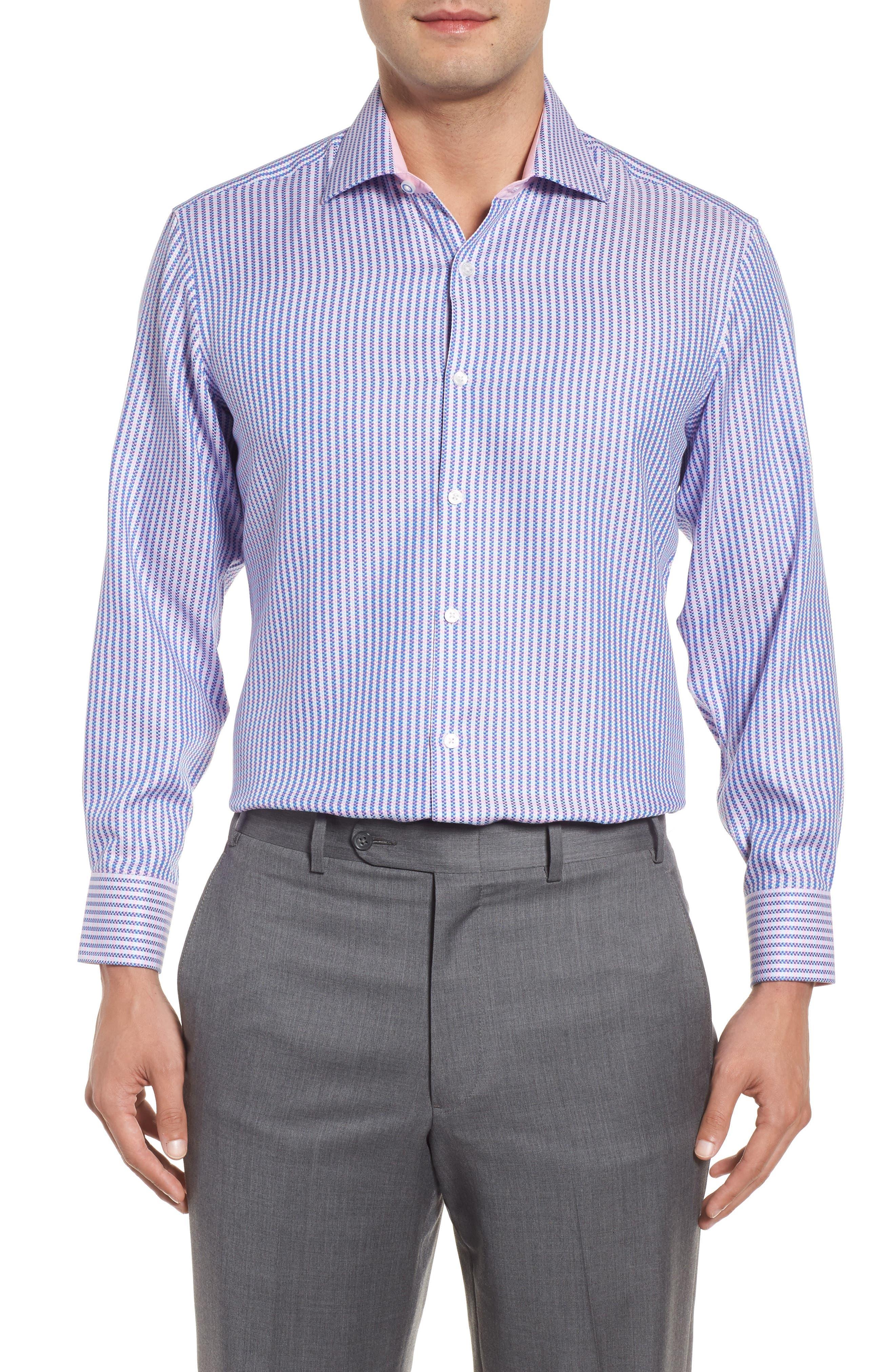 Trim Fit Stripe Dress Shirt,                         Main,                         color, Pink