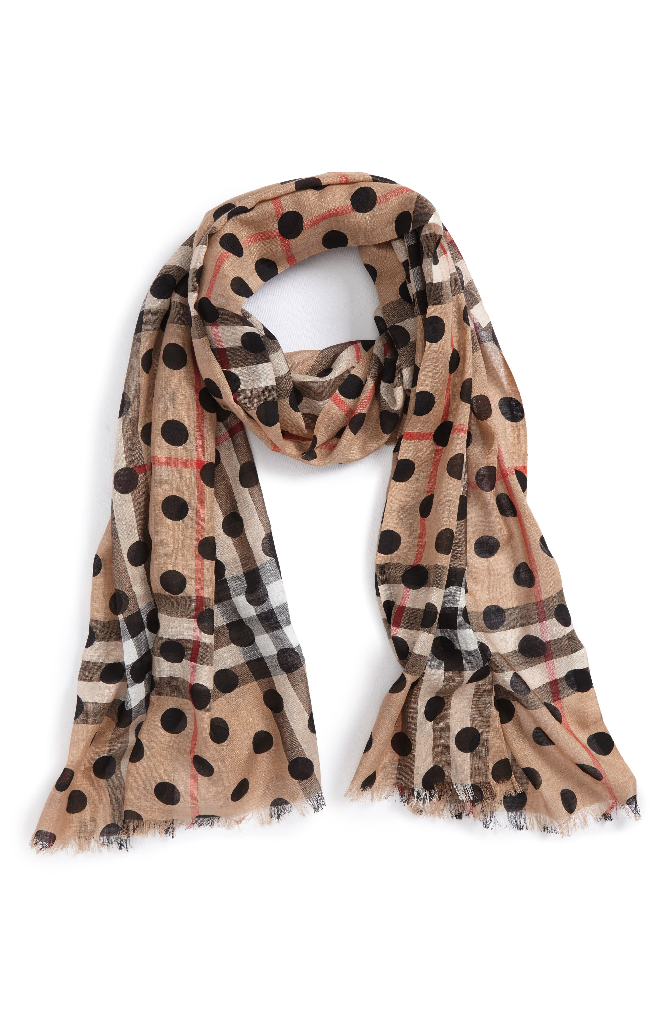 Dot & Giant Check Wool & Silk Gauze Scarf,                             Main thumbnail 1, color,                             Black