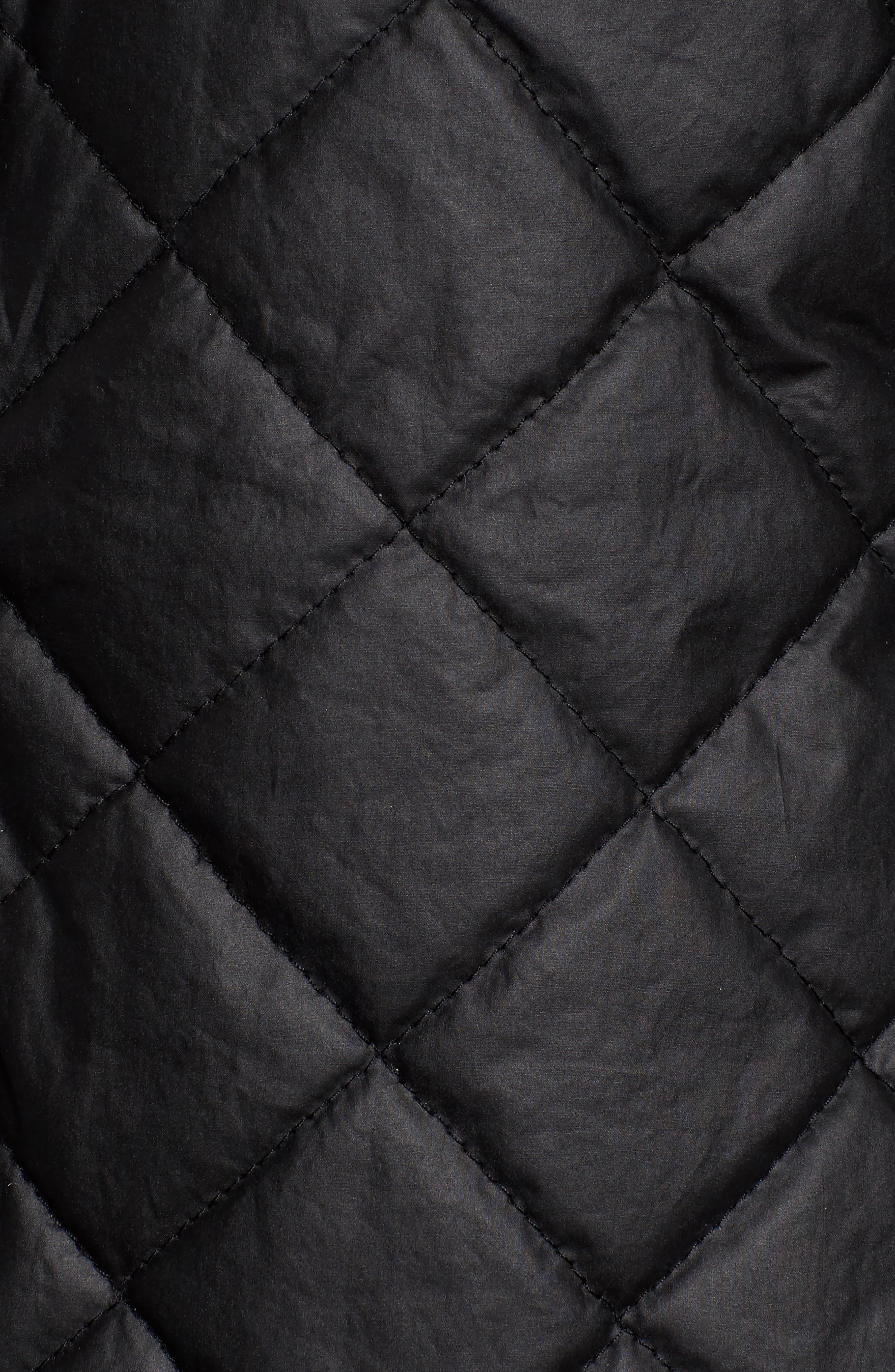 Stand Collar Organic Cotton Jacket,                             Alternate thumbnail 5, color,                             Black