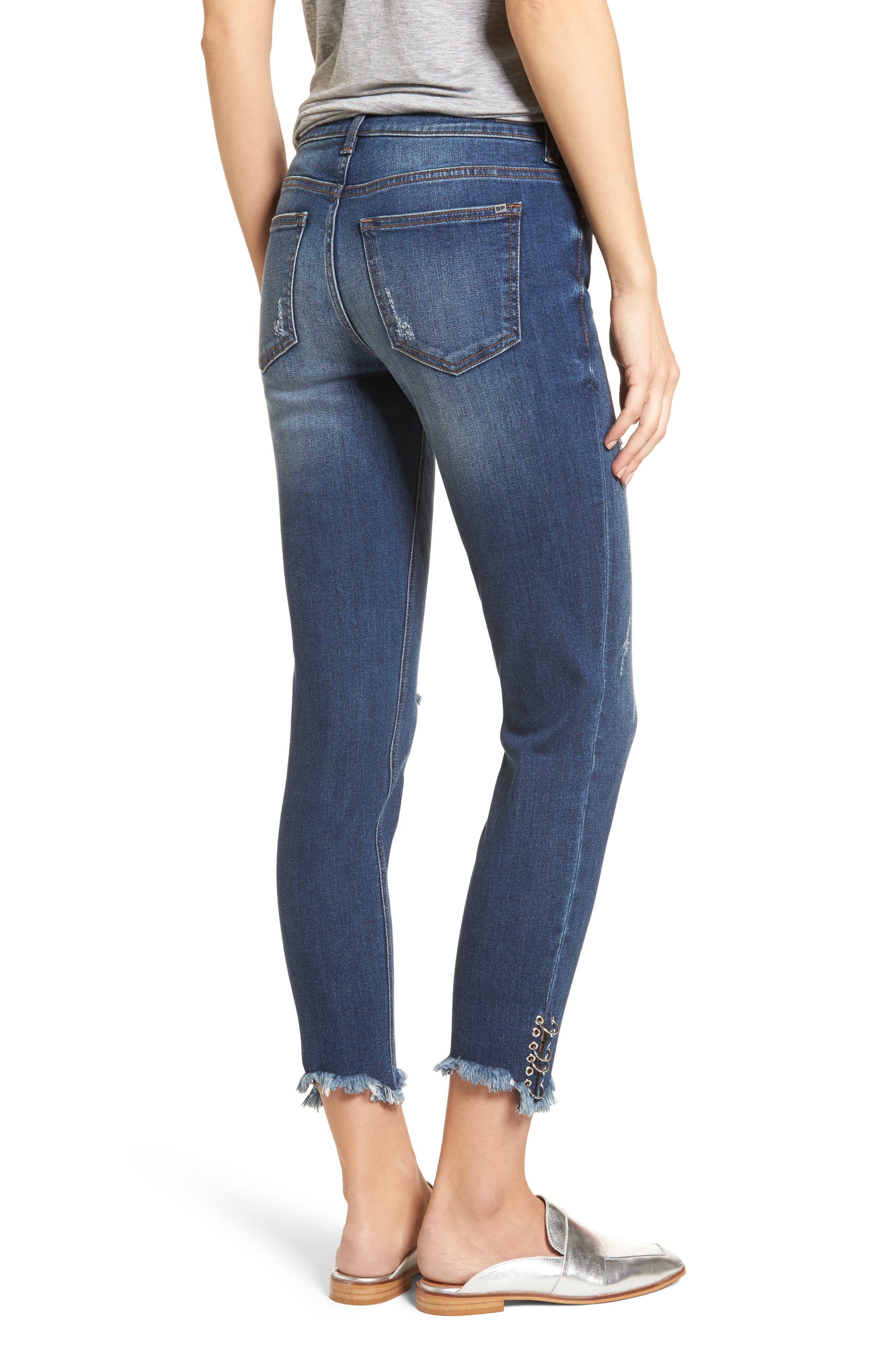 Pierced Hem Skinny Jeans,                             Alternate thumbnail 2, color,                             Medium Wash