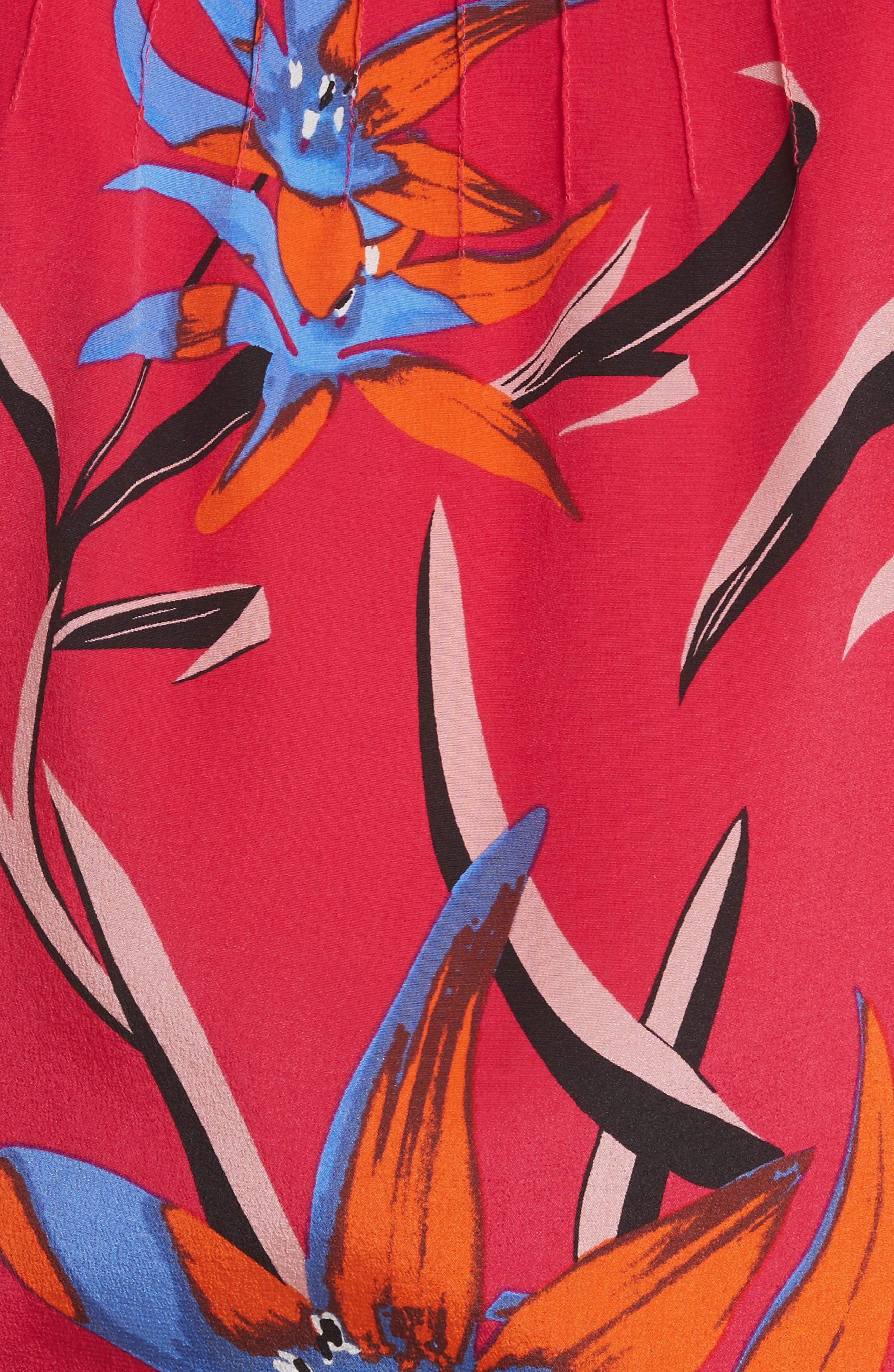 Diane von Furstenberg Pintuck Print Silk Crop Top,                             Alternate thumbnail 5, color,                             Harlow Magenta