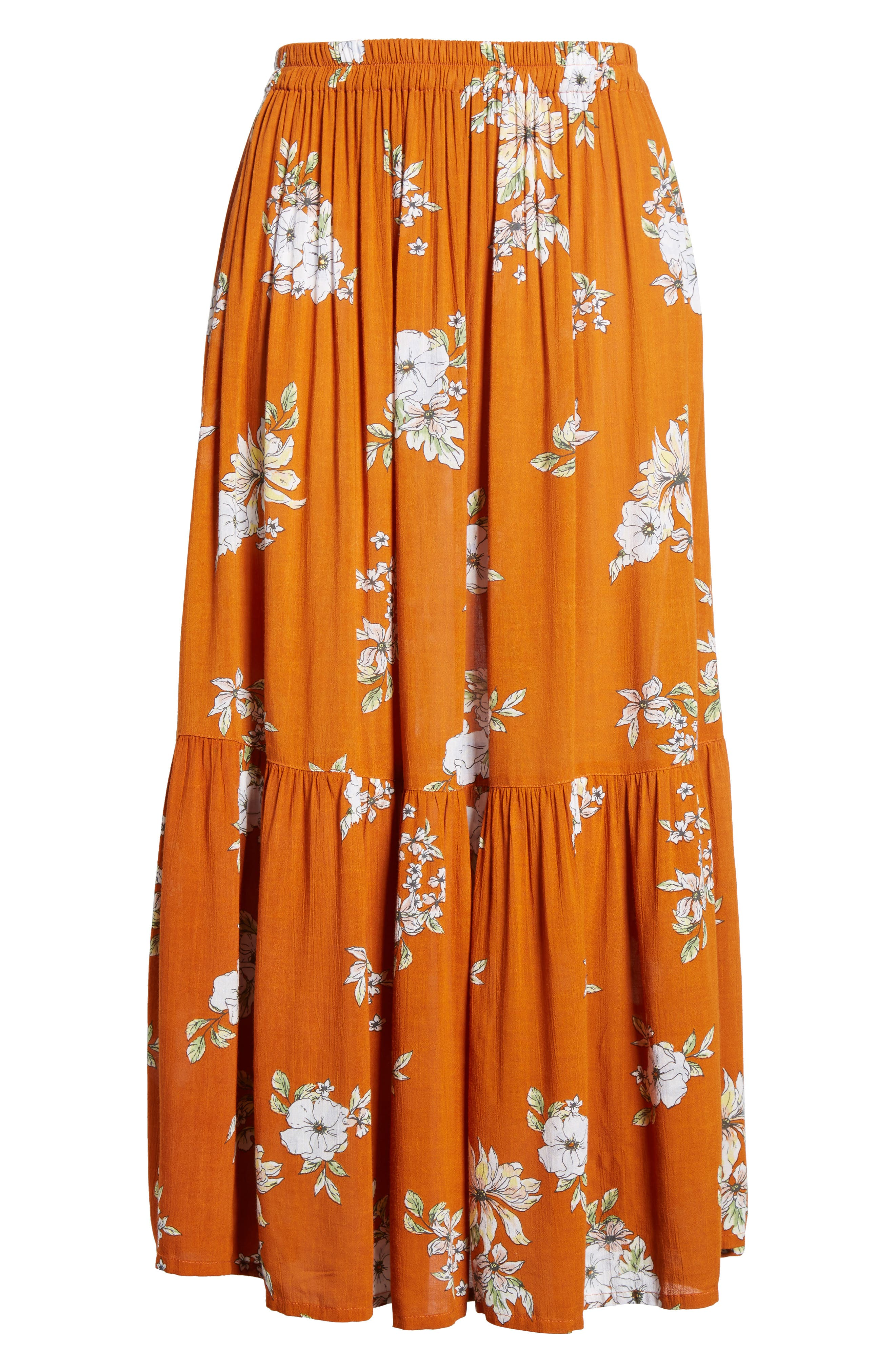Alternate Image 6  - FAITHFULL THE BRAND Rosewood Floral Tiered Skirt