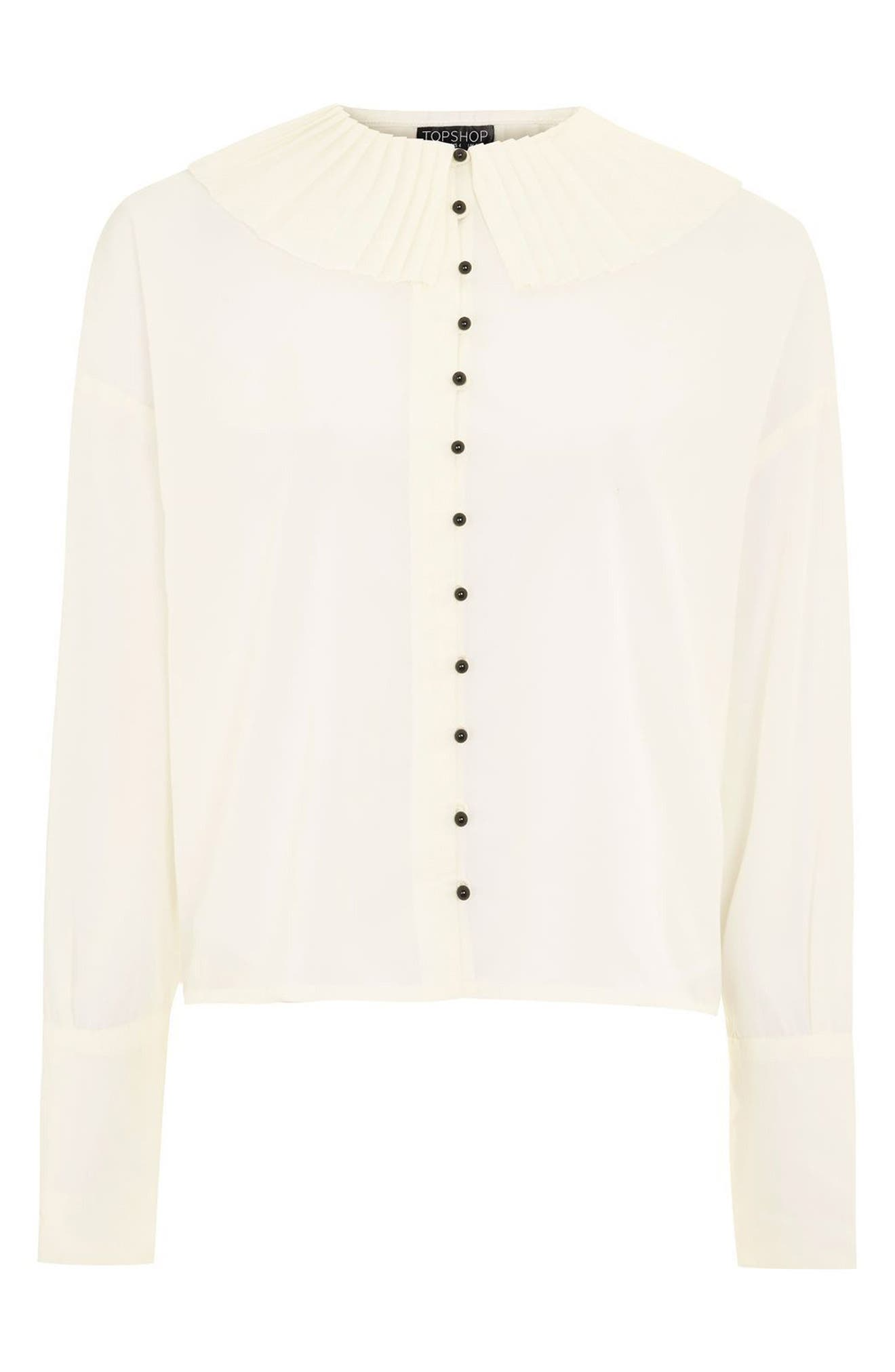 Pleated Collar Shirt,                             Alternate thumbnail 5, color,                             Ivory
