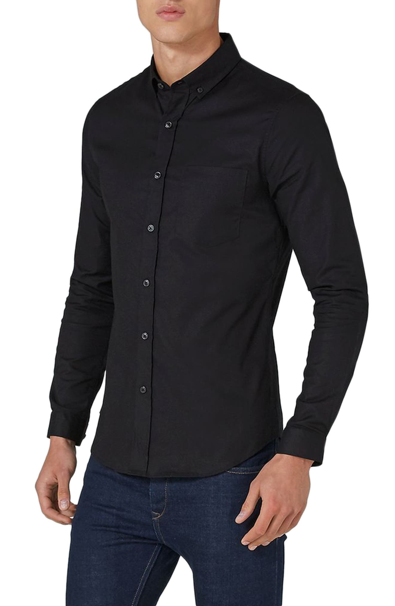 Muscle Fit Oxford Shirt,                             Main thumbnail 1, color,                             Black