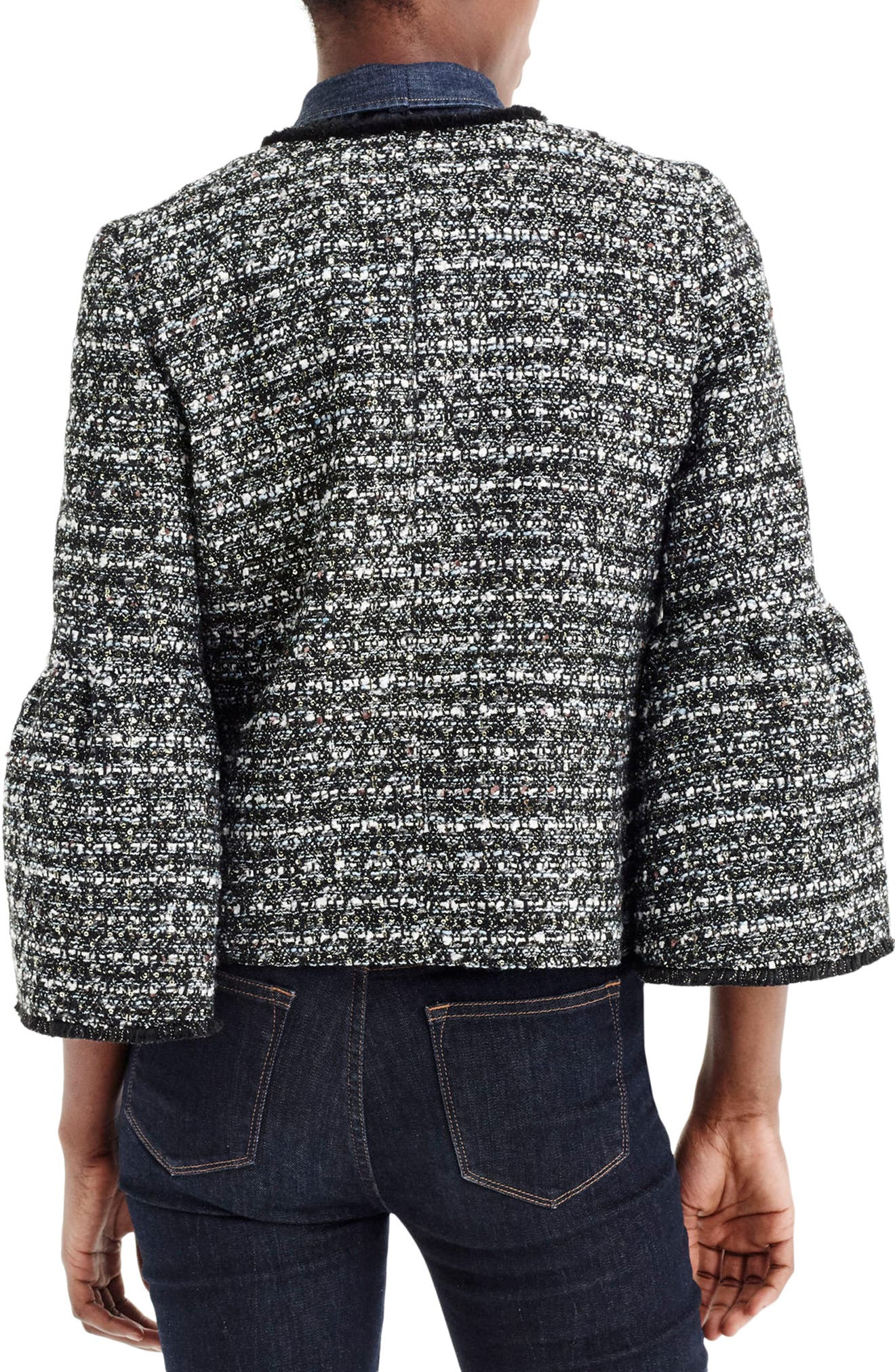 J.Crew Belle Sequin Tweed Jacket,                             Alternate thumbnail 2, color,                             Black Multi