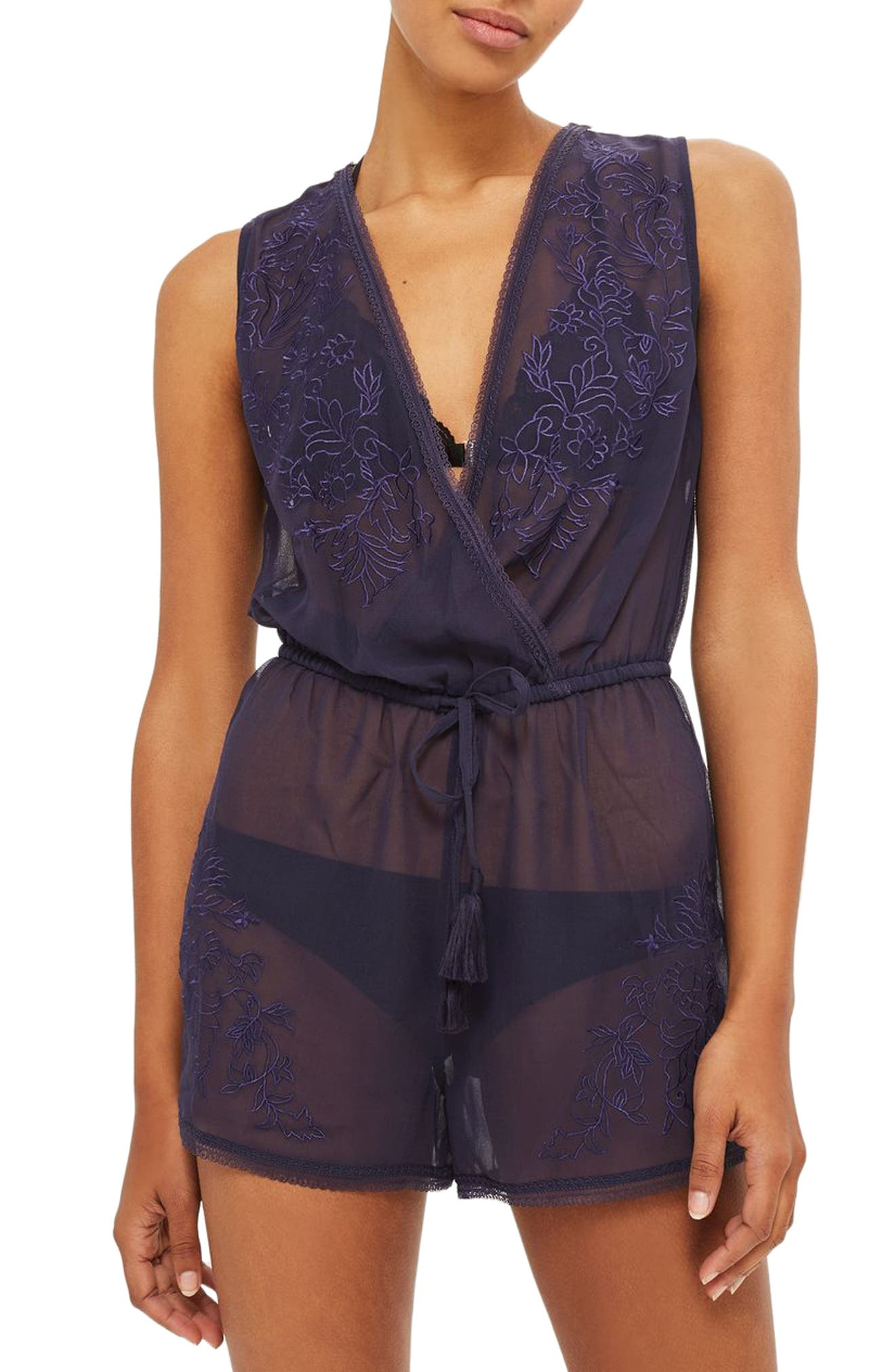 Tallulah Mesh Embroidered Romper,                         Main,                         color, Navy Blue