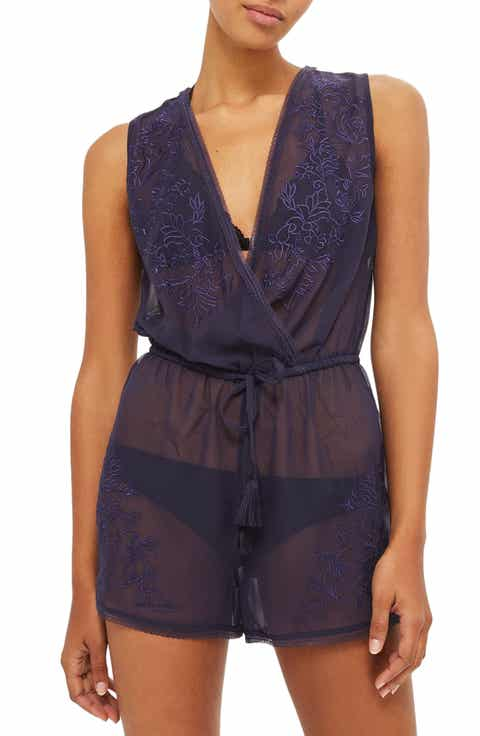Topshop Tallulah Mesh Embroidered Romper Sale