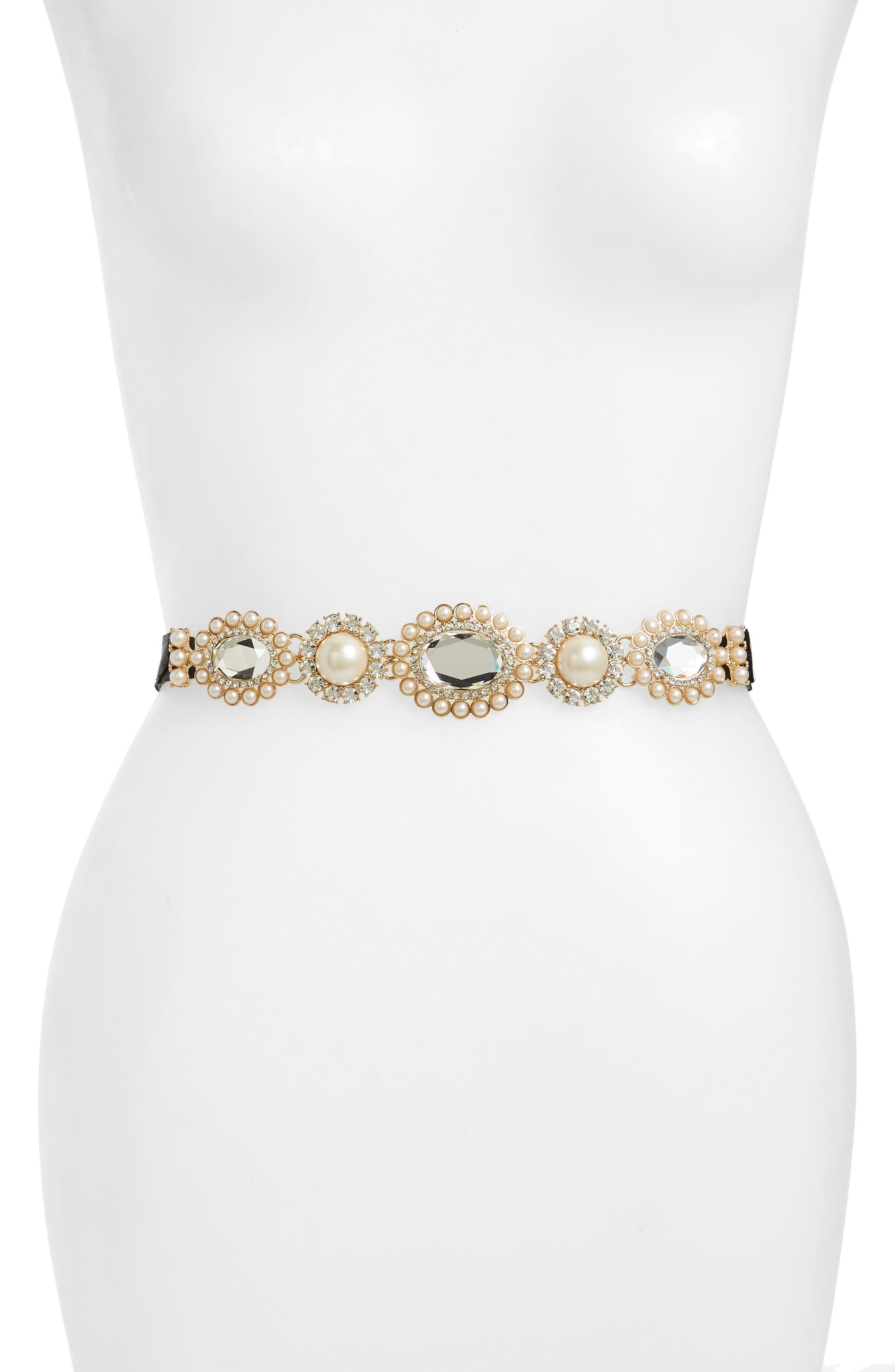 kate spade new york embellished tie-back belt