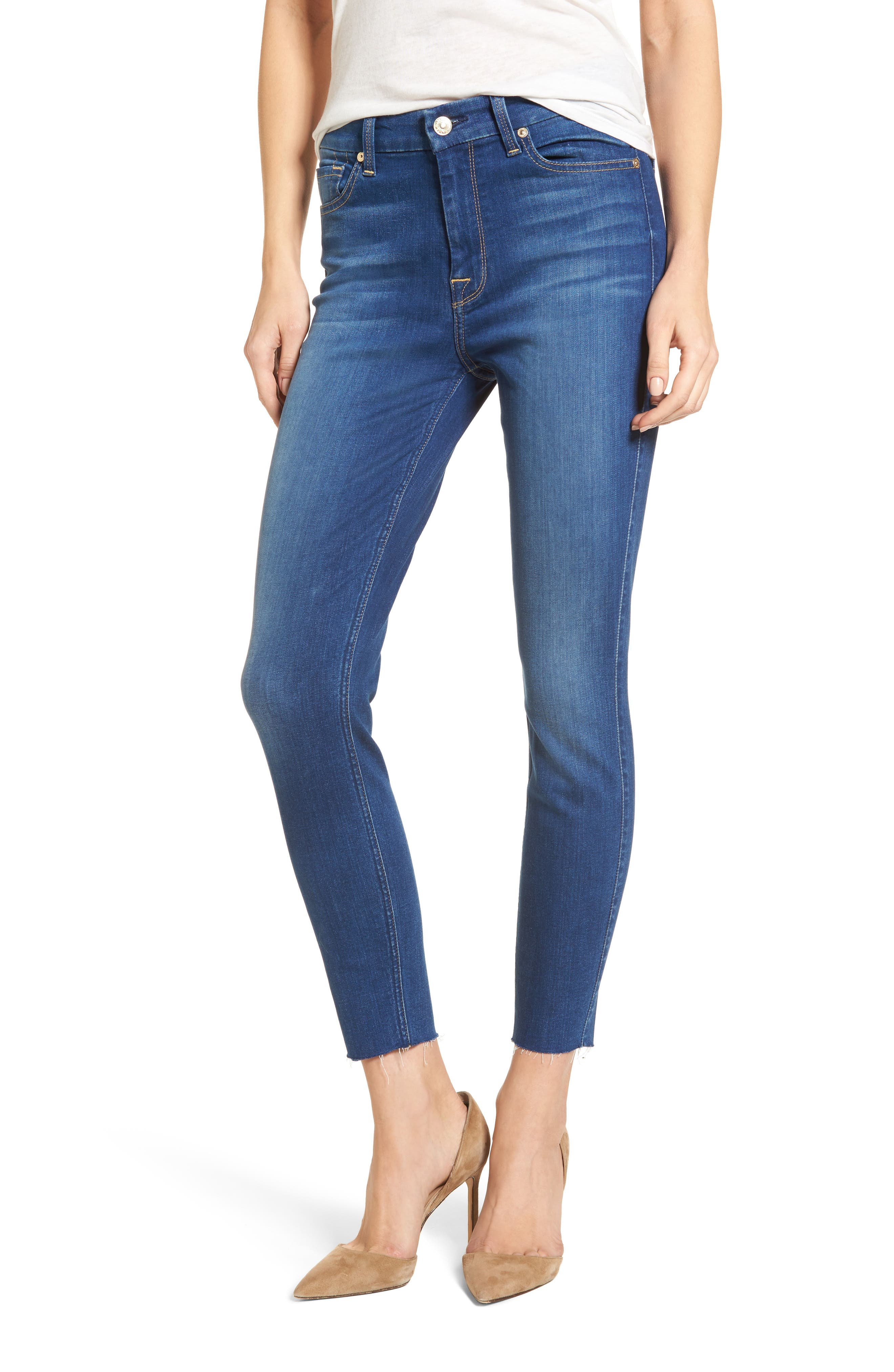 Main Image - 7 For All Mankind® High Waist Ankle Skinny Jeans (Manhattan)