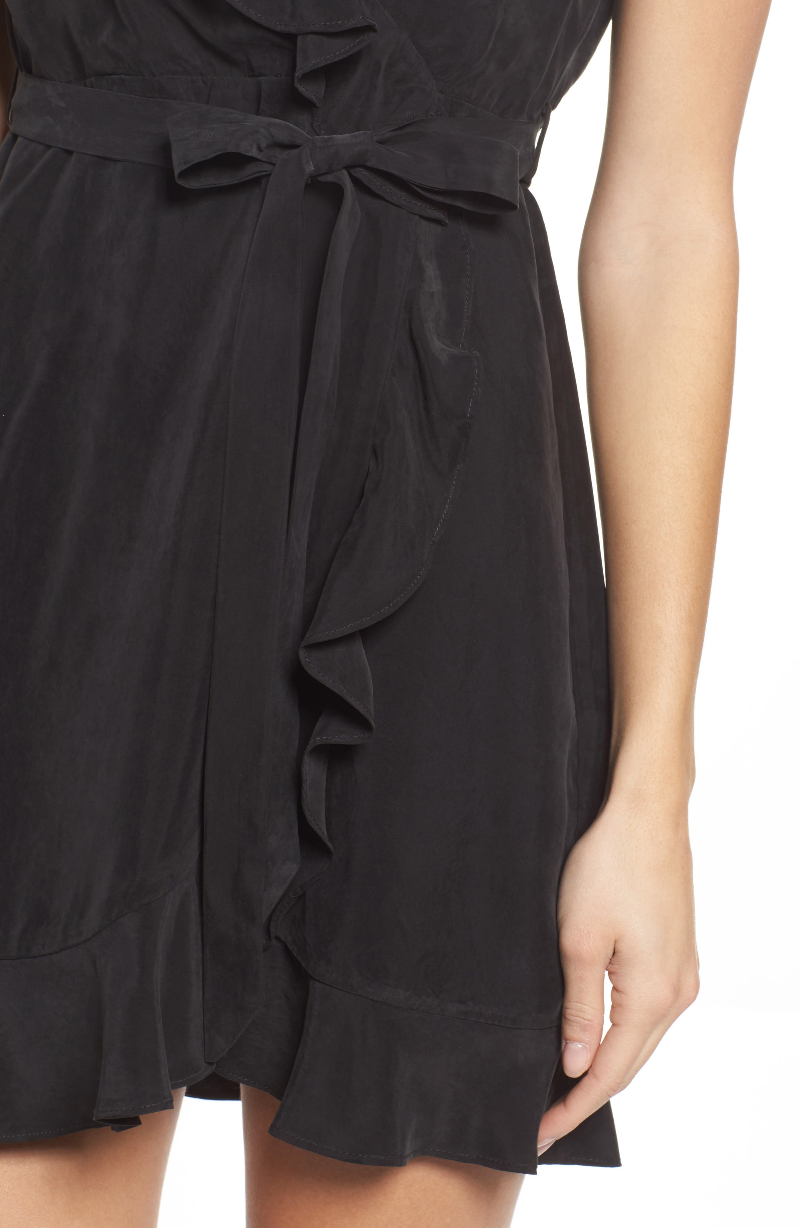 Milly One-Shoulder Wrap Dress,                             Alternate thumbnail 4, color,                             Black