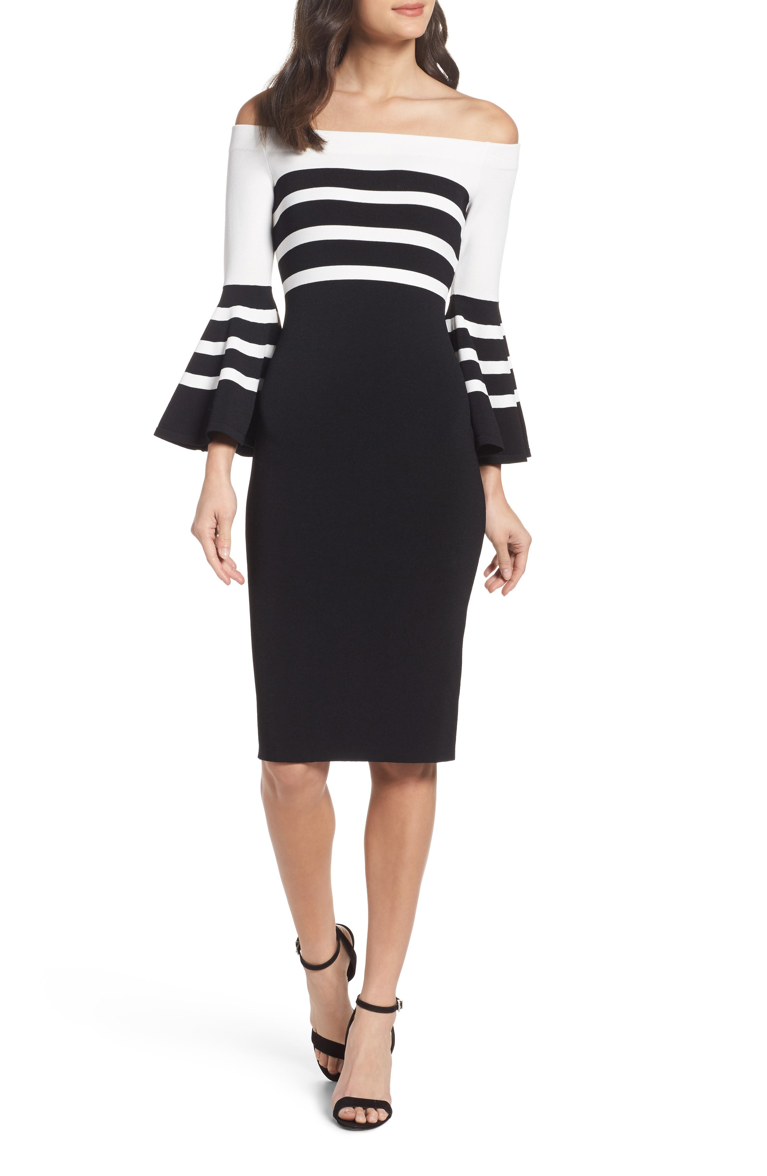 Off the Shoulder Sweater Dress,                             Main thumbnail 1, color,                             Black/ White Stripe