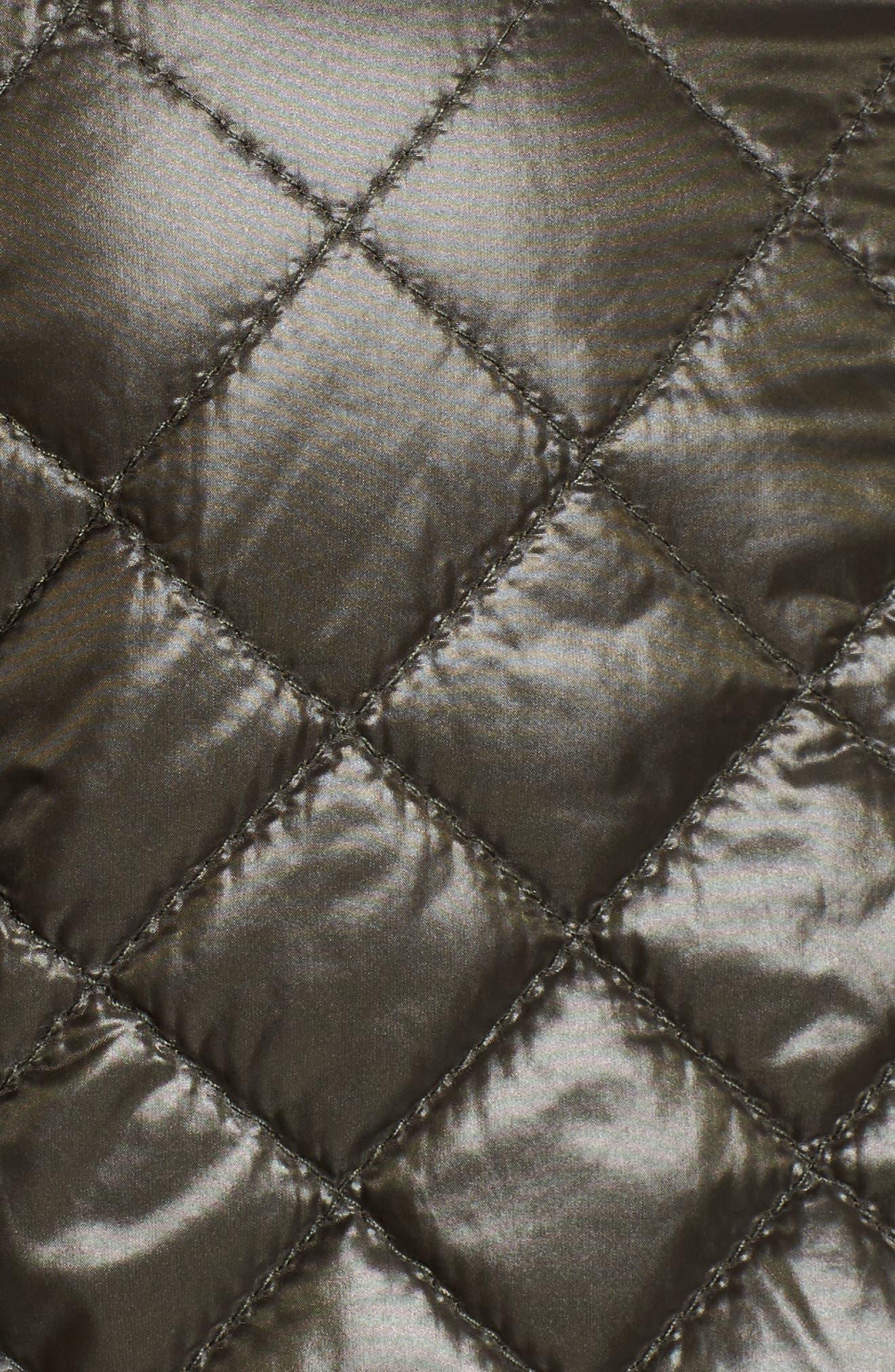 Neoprene & Diamond Quilted Jacket,                             Alternate thumbnail 5, color,                             Olive
