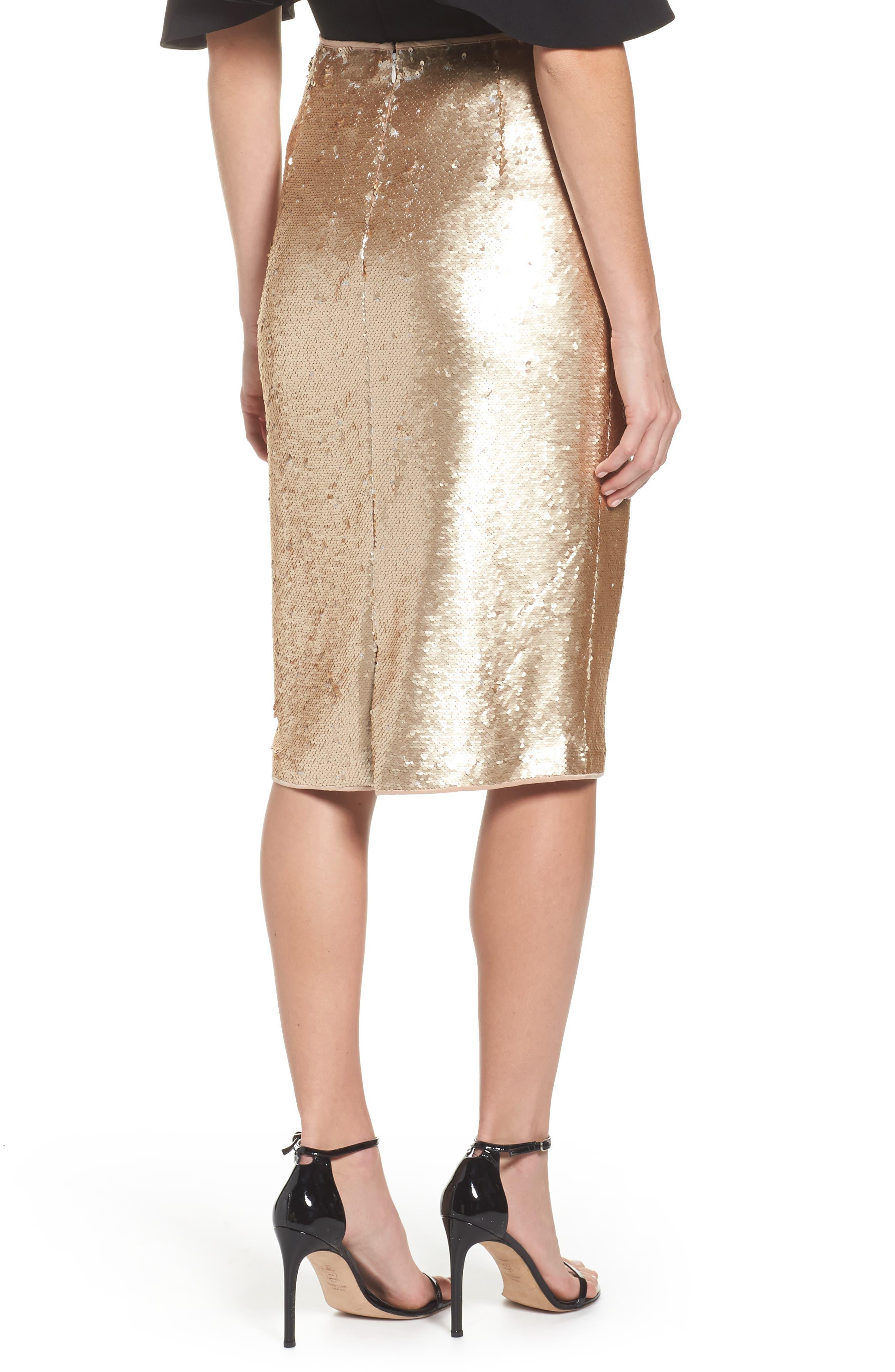 Paillette Pencil Skirt,                             Alternate thumbnail 3, color,                             Gold