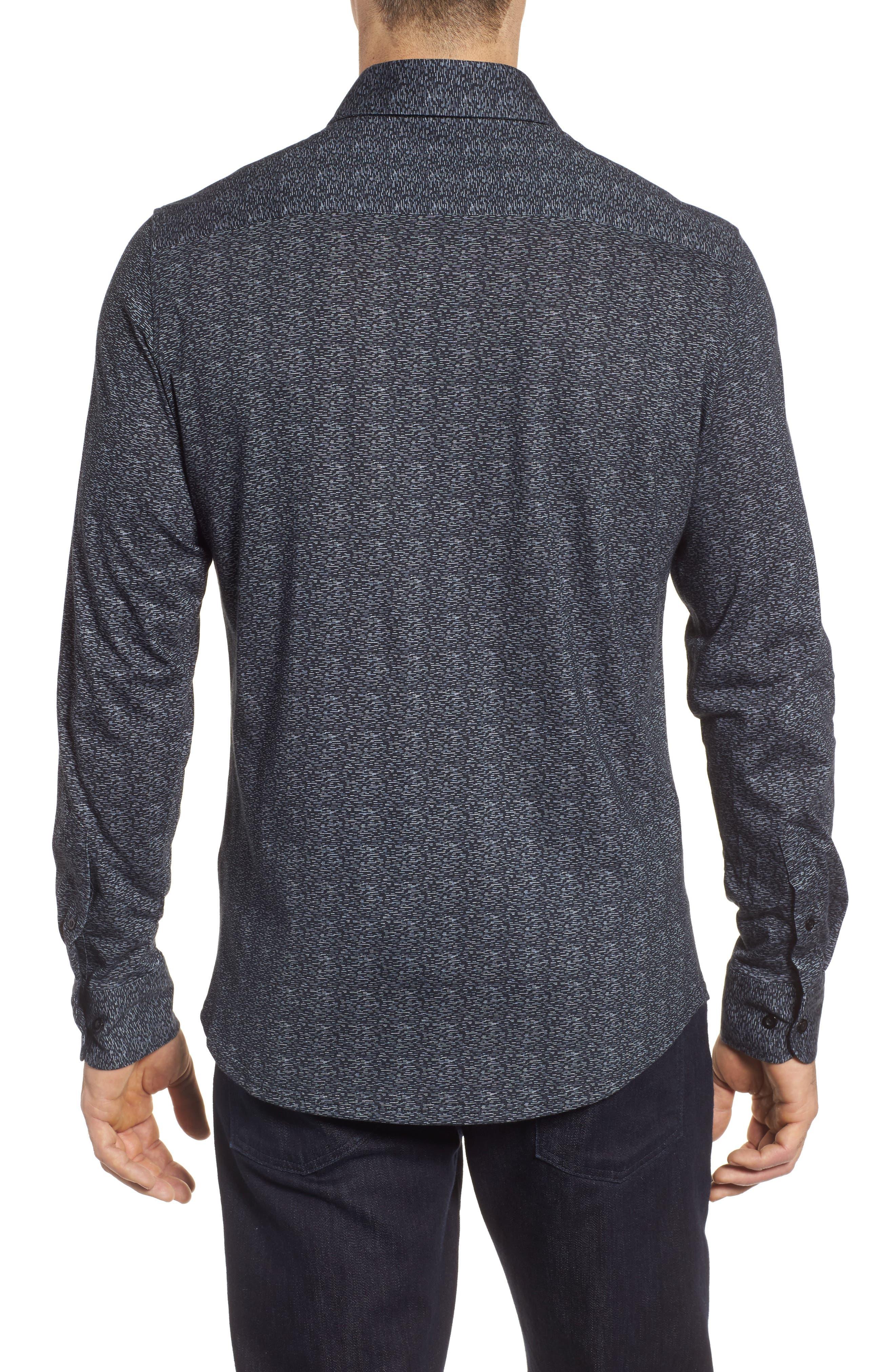 Mélange Knit Sport Shirt,                             Alternate thumbnail 2, color,                             Black