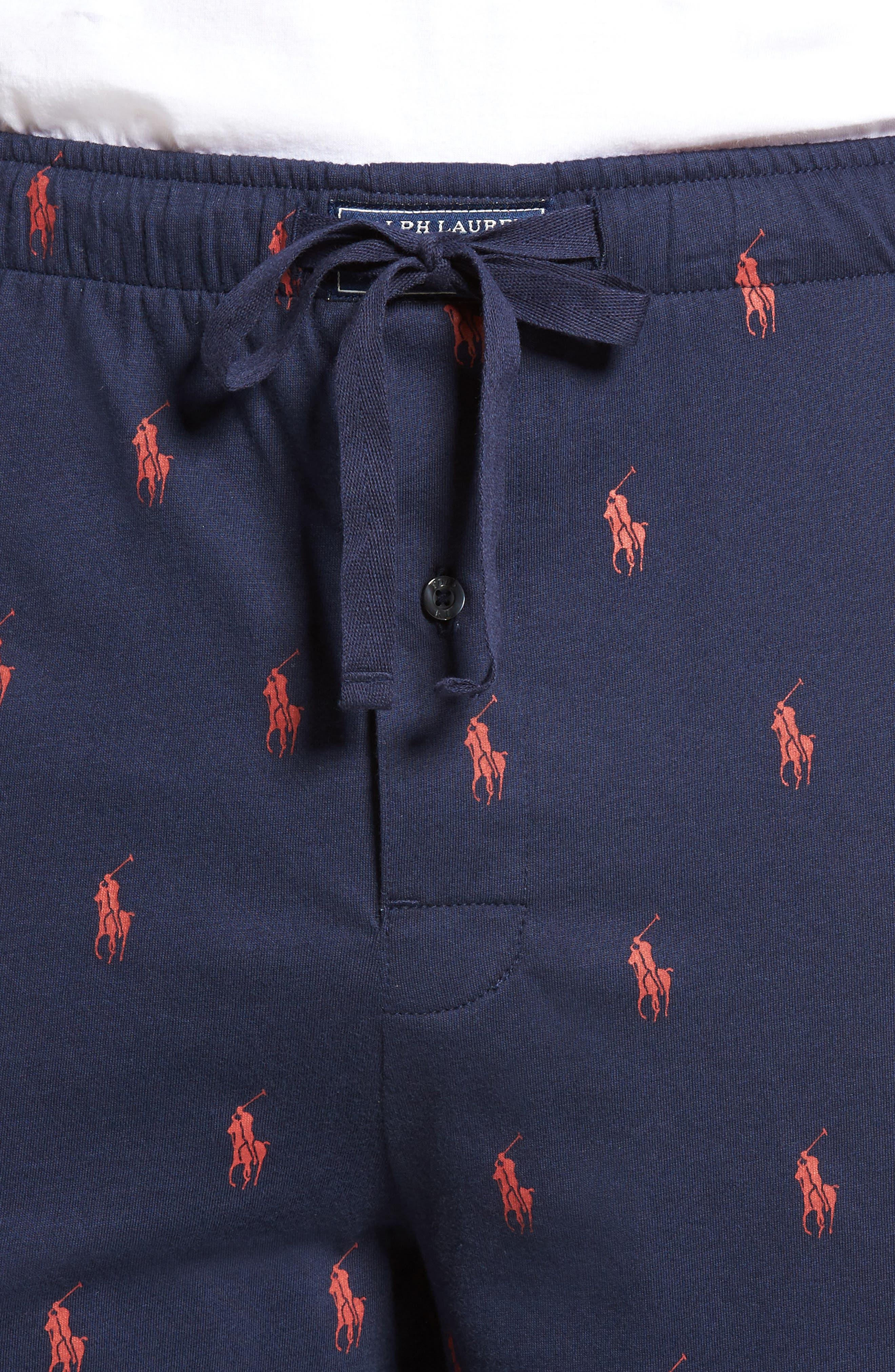 Print Jersey Pajama Shorts,                             Alternate thumbnail 4, color,                             Cruise Navy/ Red Sienna