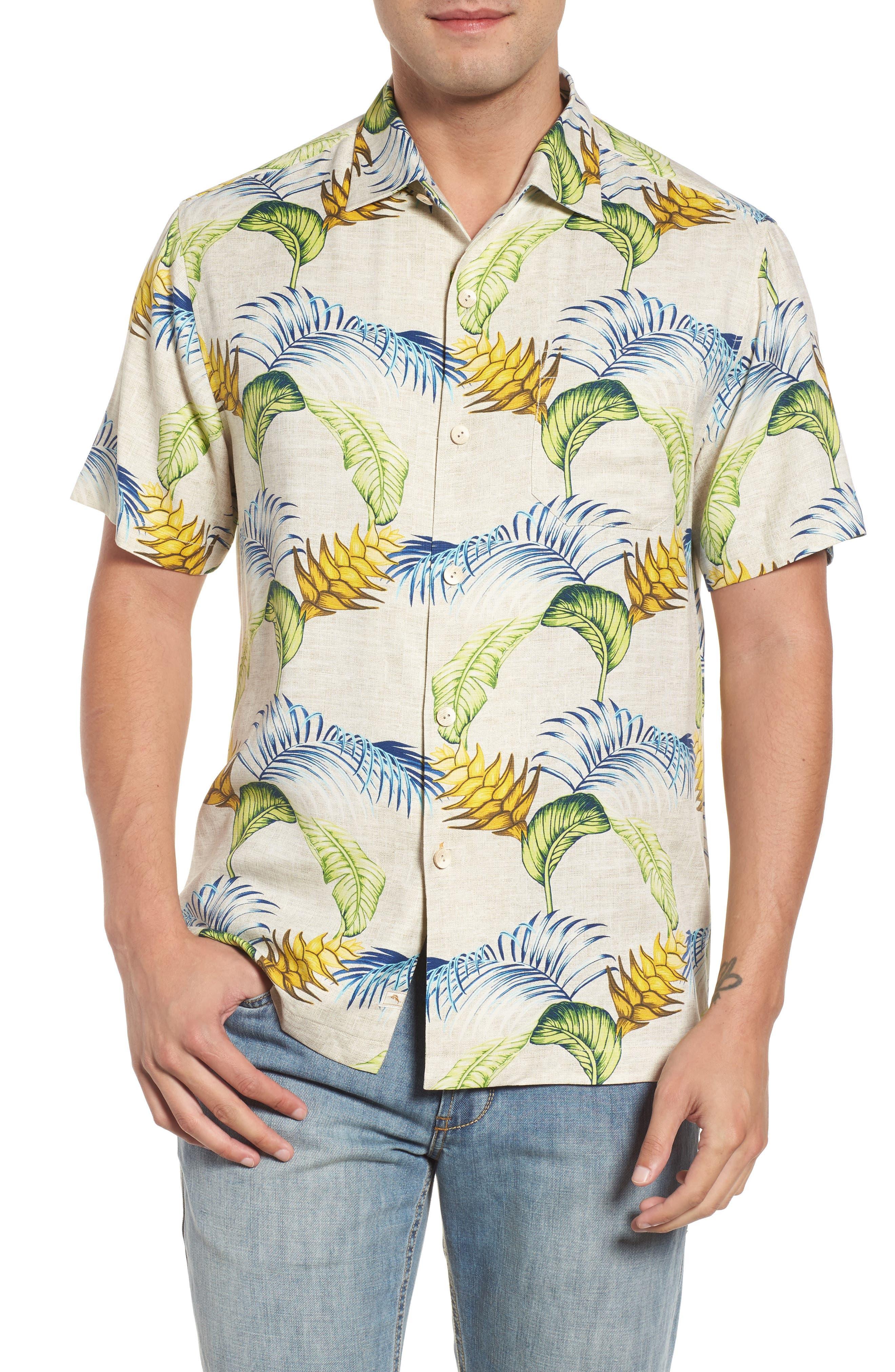 Boca Bouquet Silk Sport Shirt,                         Main,                         color, Coconut Cream