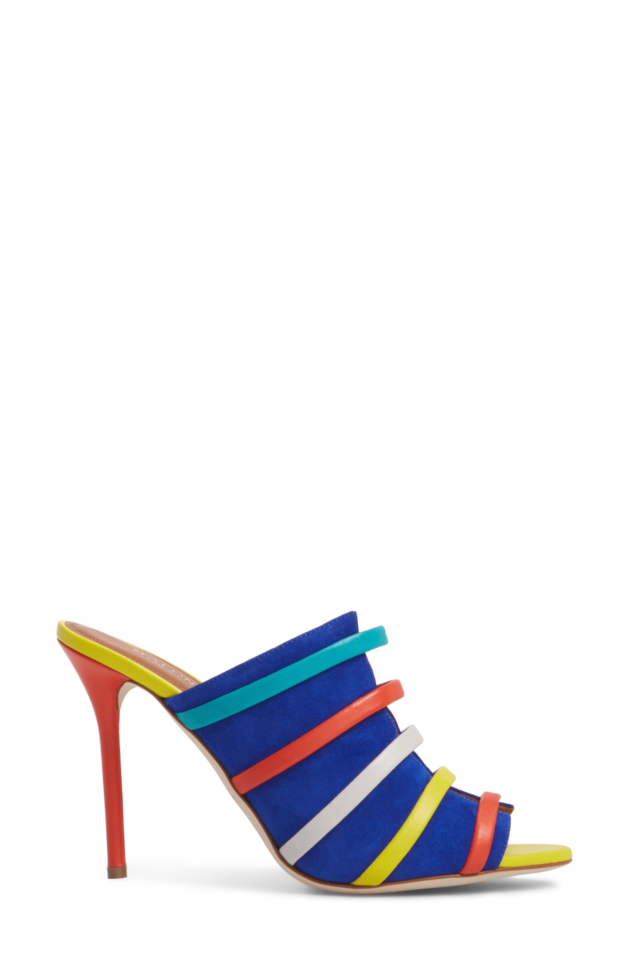 Zoe Banded Mule,                             Alternate thumbnail 3, color,                             Electric Blue/ Flame/ Yellow