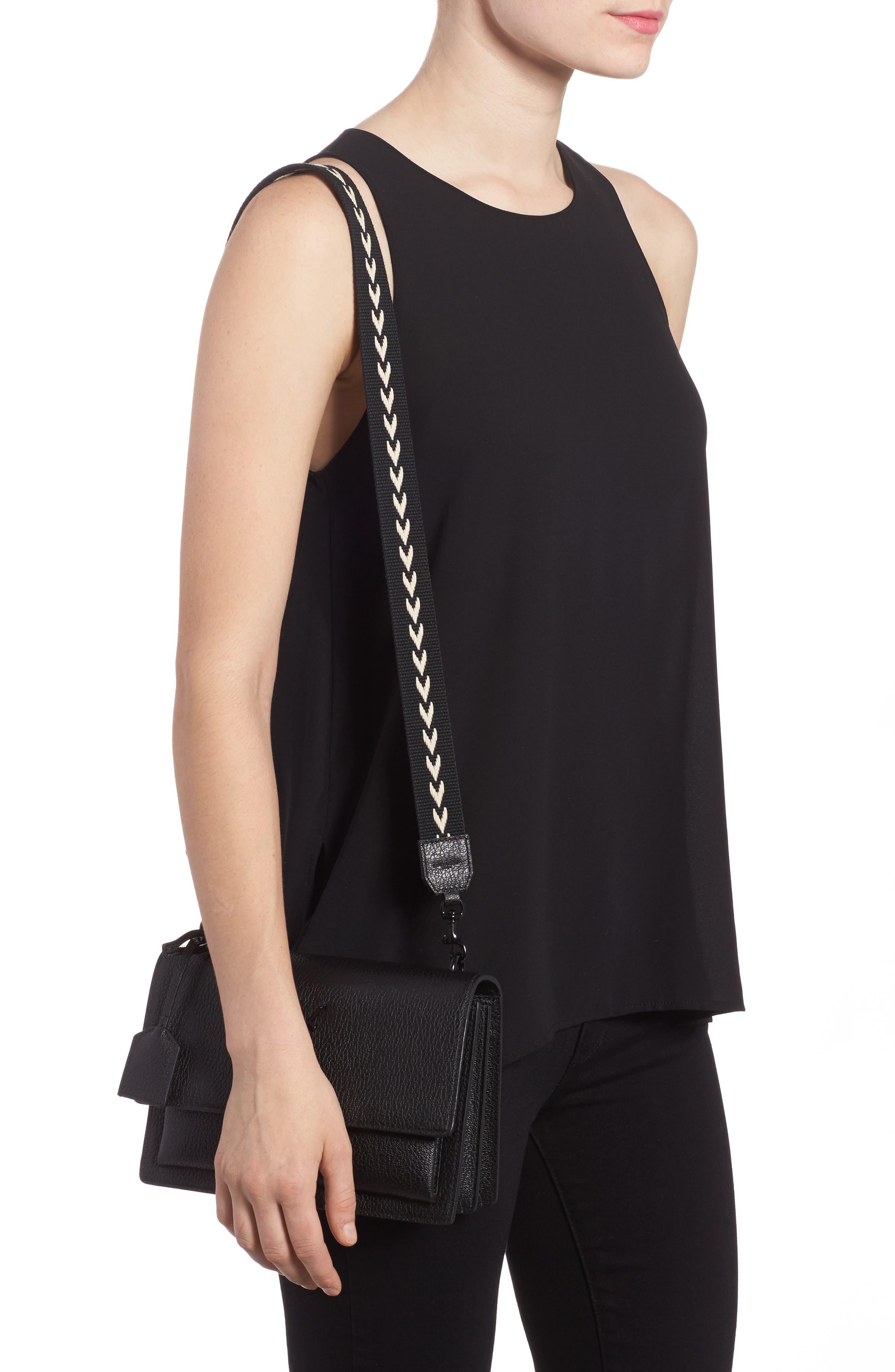 Medium Sunset Calfskin Shoulder Bag with Woven Guitar Strap,                             Alternate thumbnail 2, color,                             Noir
