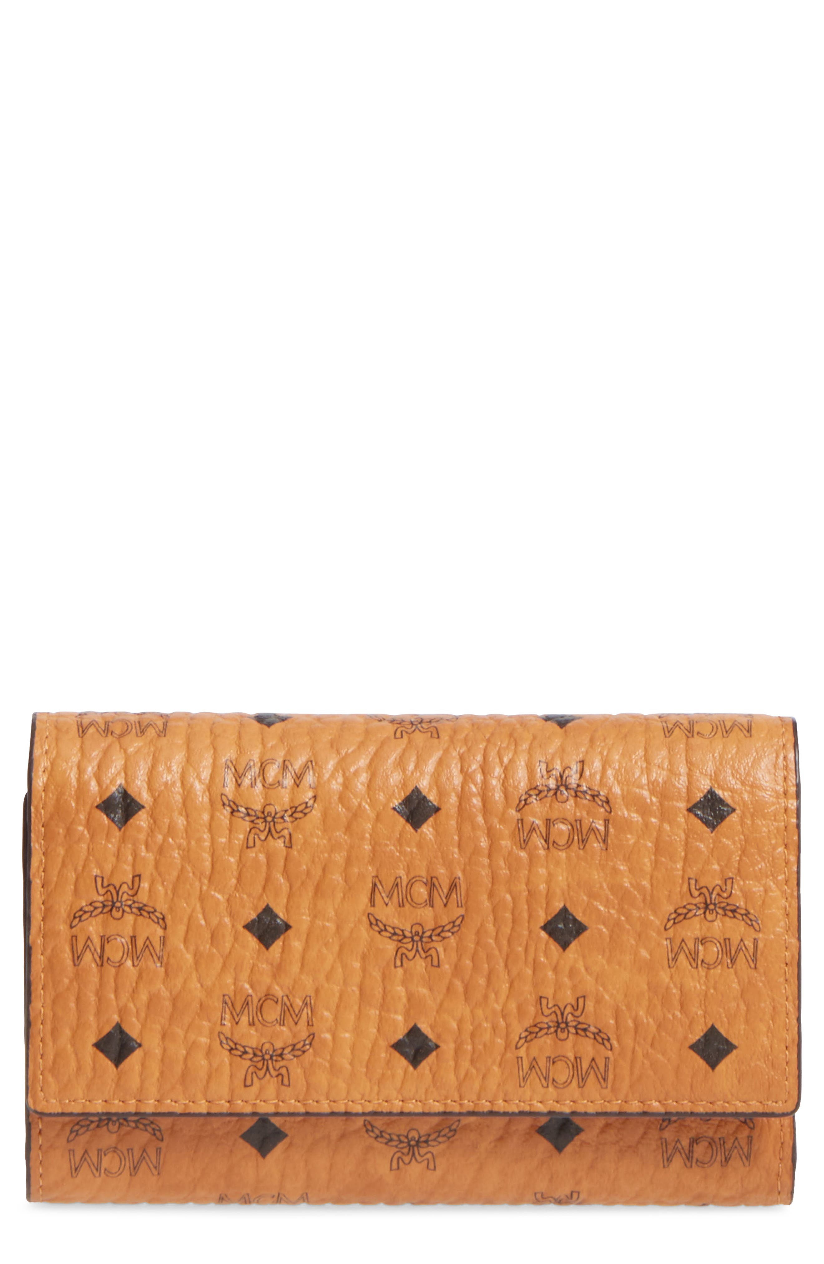 Small French Trifold Wallet,                         Main,                         color, Cognac