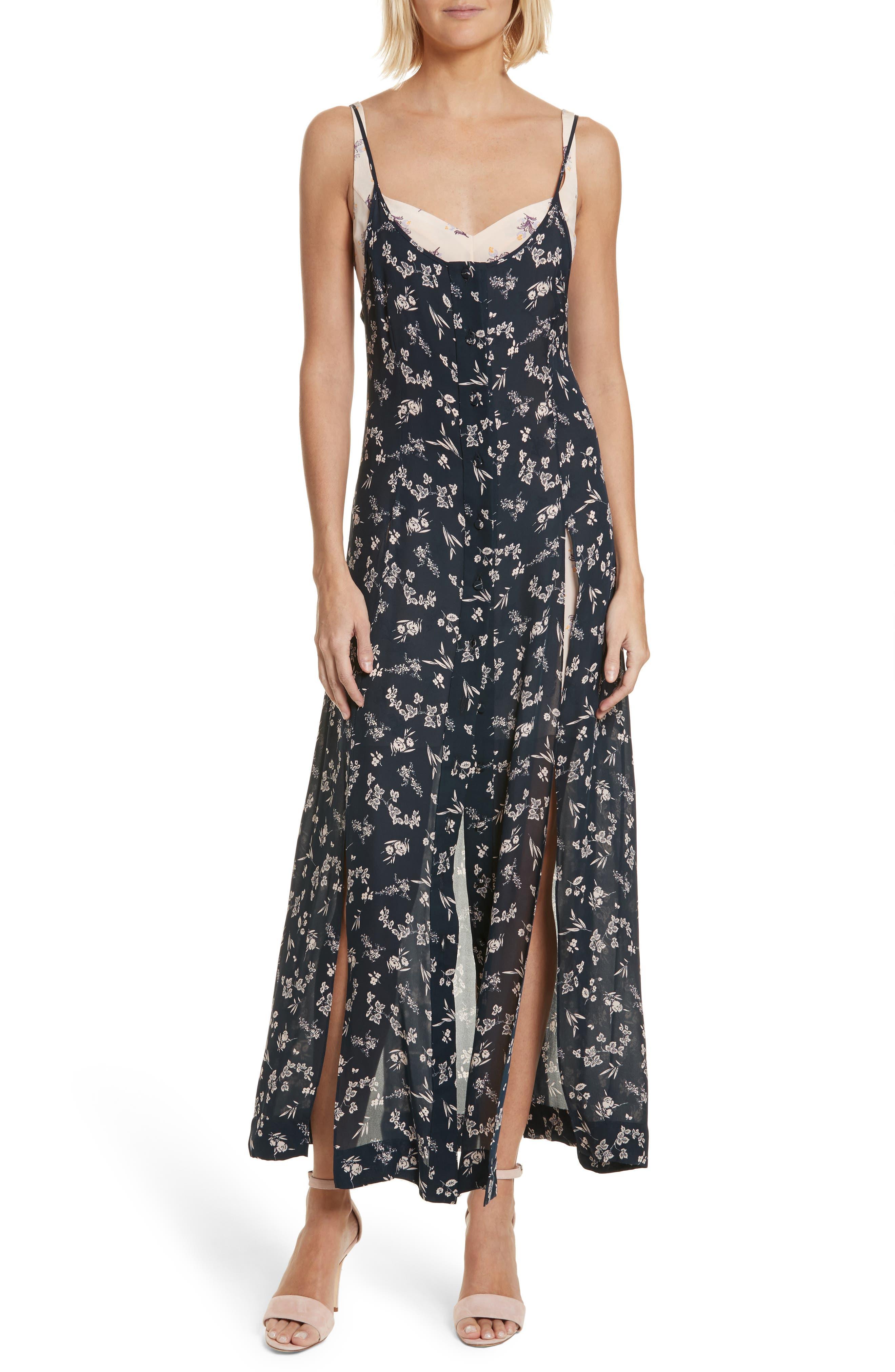 Jocelyn Floral Print Layered Silk Dress,                         Main,                         color, Navy/ Pearl Blush Multi