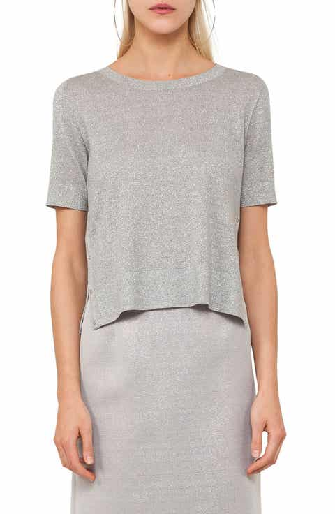 Akris punto Metallic Short Sleeve Sweater
