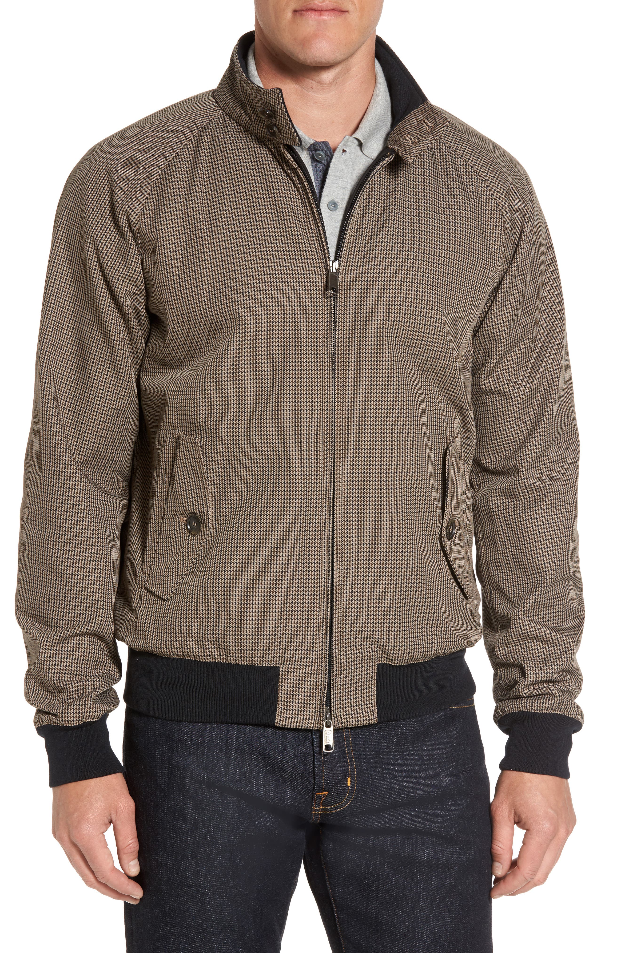 G9 Houndstooth Harrington Jacket,                         Main,                         color, Pied De Poule Tan