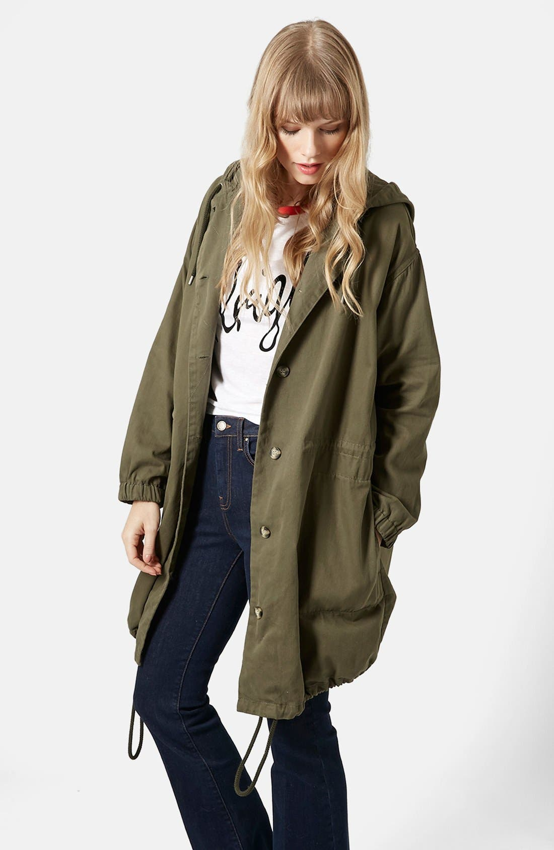 Main Image - Topshop 'Marte' Hooded Parka (Brit Pop-In)