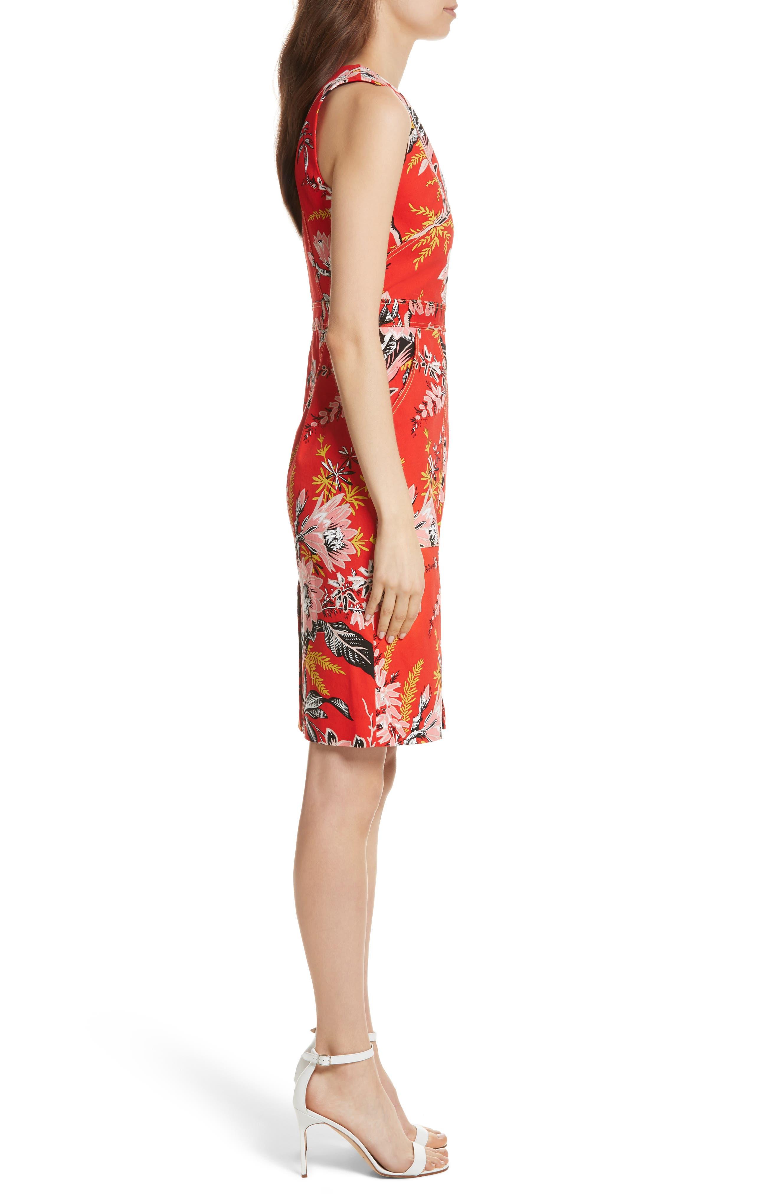Diane von Furstenberg Floral Zip Front Stretch Cotton Sheath Dress,                             Alternate thumbnail 3, color,                             Avalon Poppy
