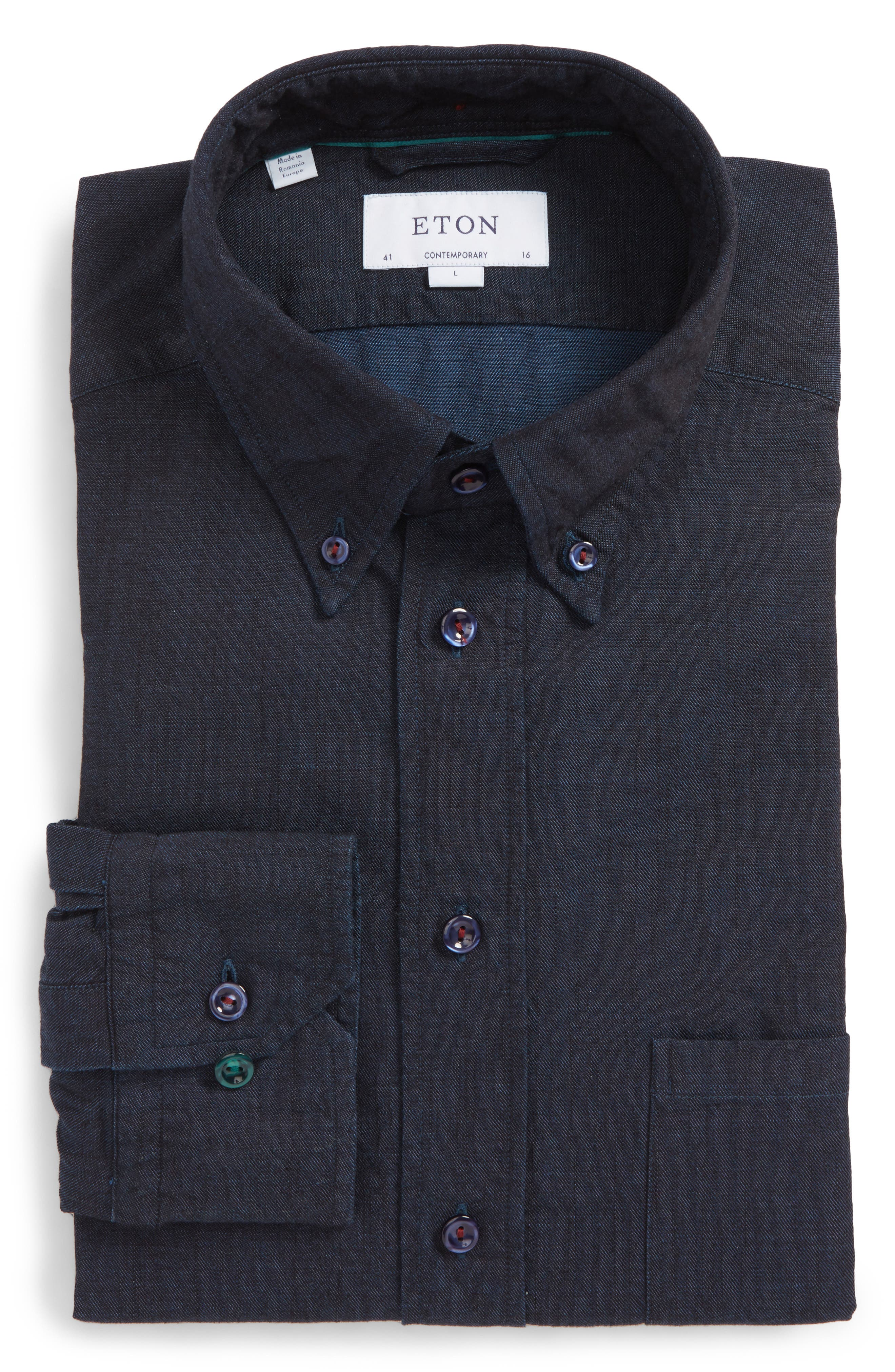 Eton Slim Fit Chambray Dress Shirt