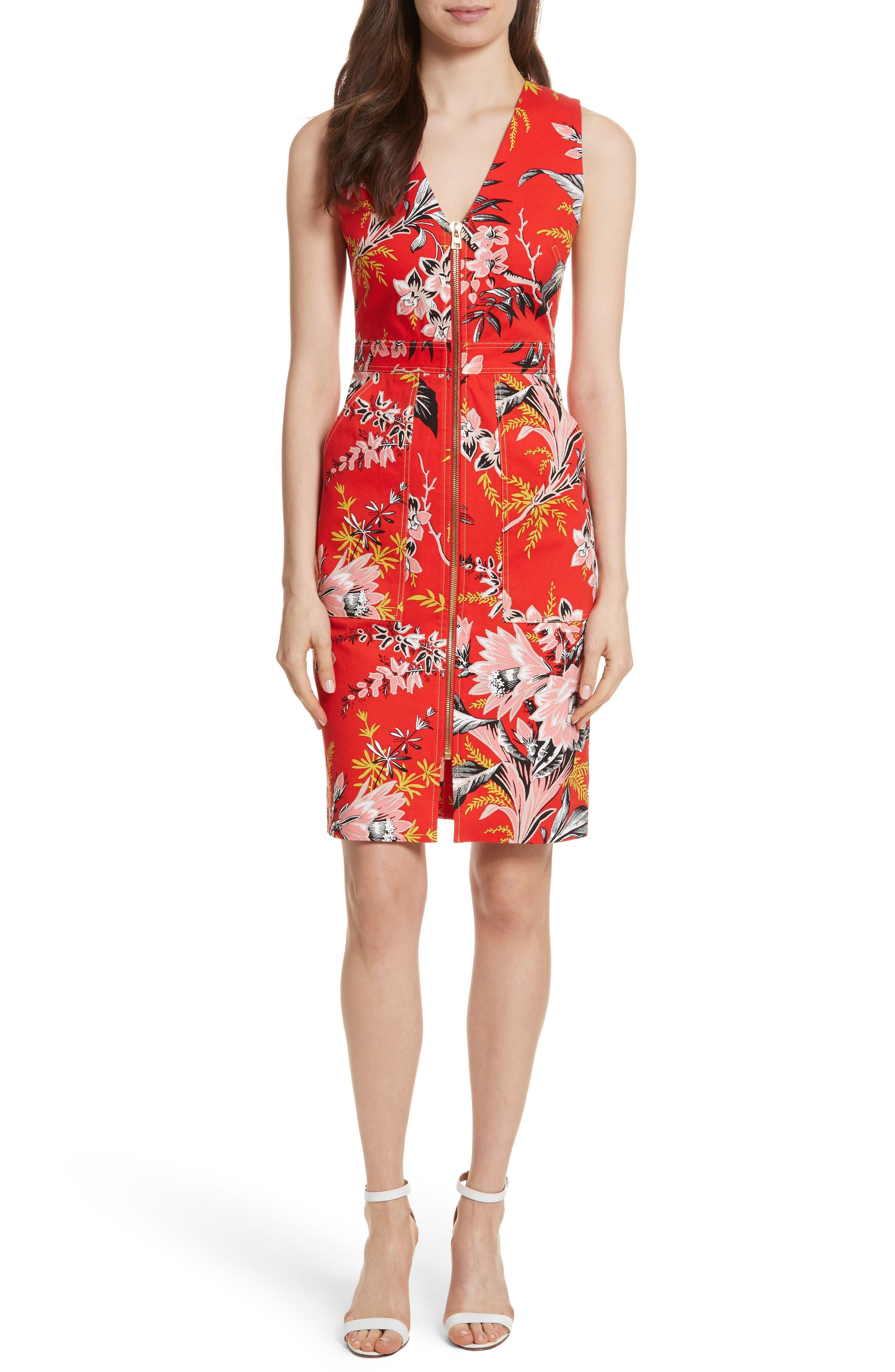 Diane von Furstenberg Floral Zip Front Stretch Cotton Sheath Dress,                             Main thumbnail 1, color,                             Avalon Poppy
