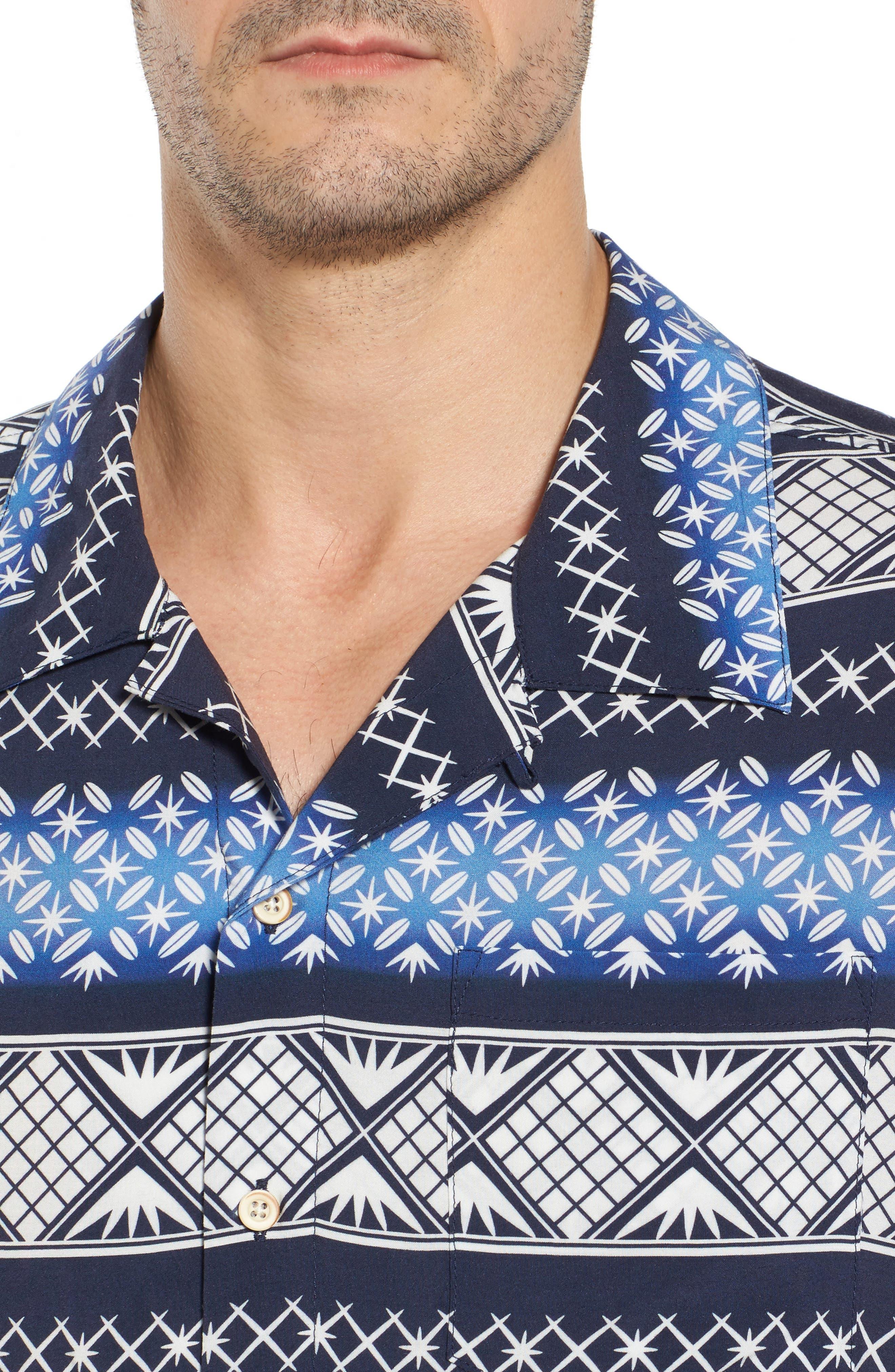 Geo Print Sport Shirt,                             Alternate thumbnail 4, color,                             Navy Blazer
