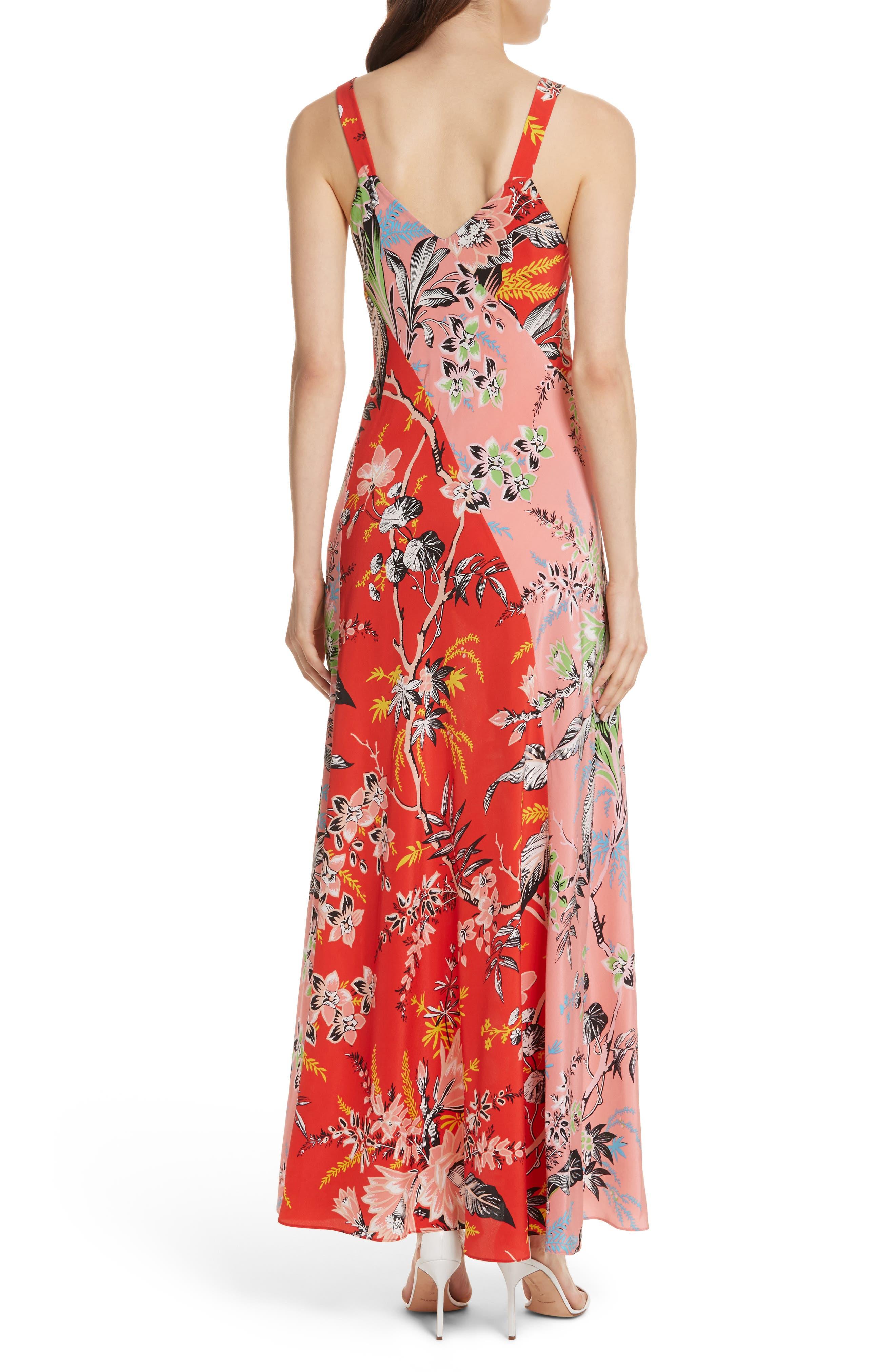 Diane von Furstenberg Paneled Silk Maxi Dress,                             Alternate thumbnail 2, color,                             Avalon Poppy/ Avalon Hyacinth