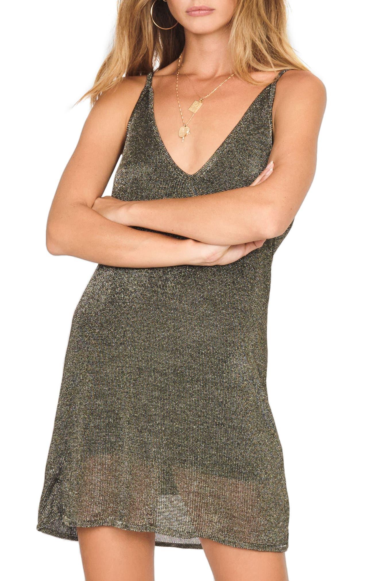 Ray of Light Metallic Knit Dress,                         Main,                         color, Bronze