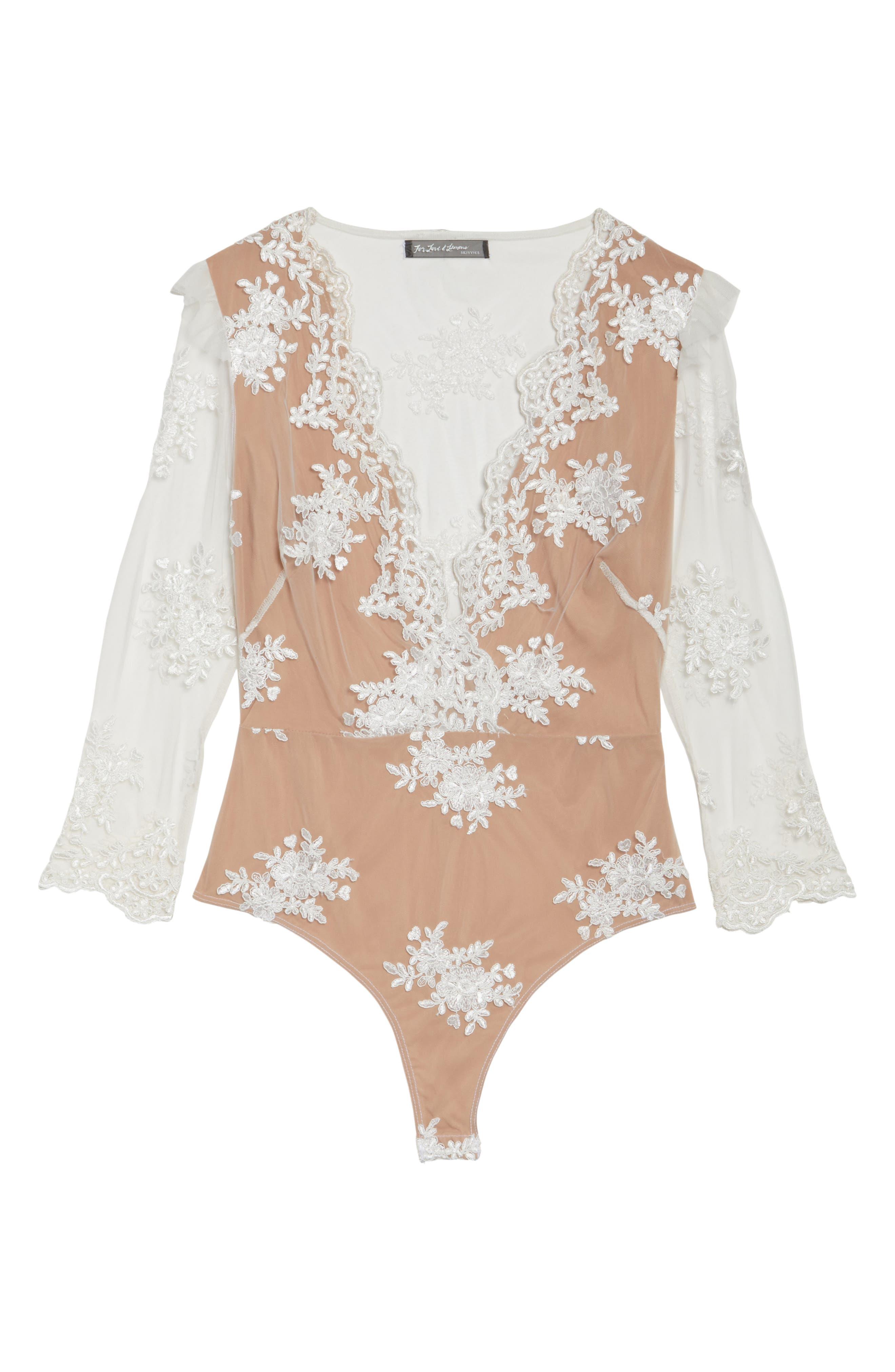 Amber Thong Bodysuit,                             Alternate thumbnail 6, color,                             Blanc