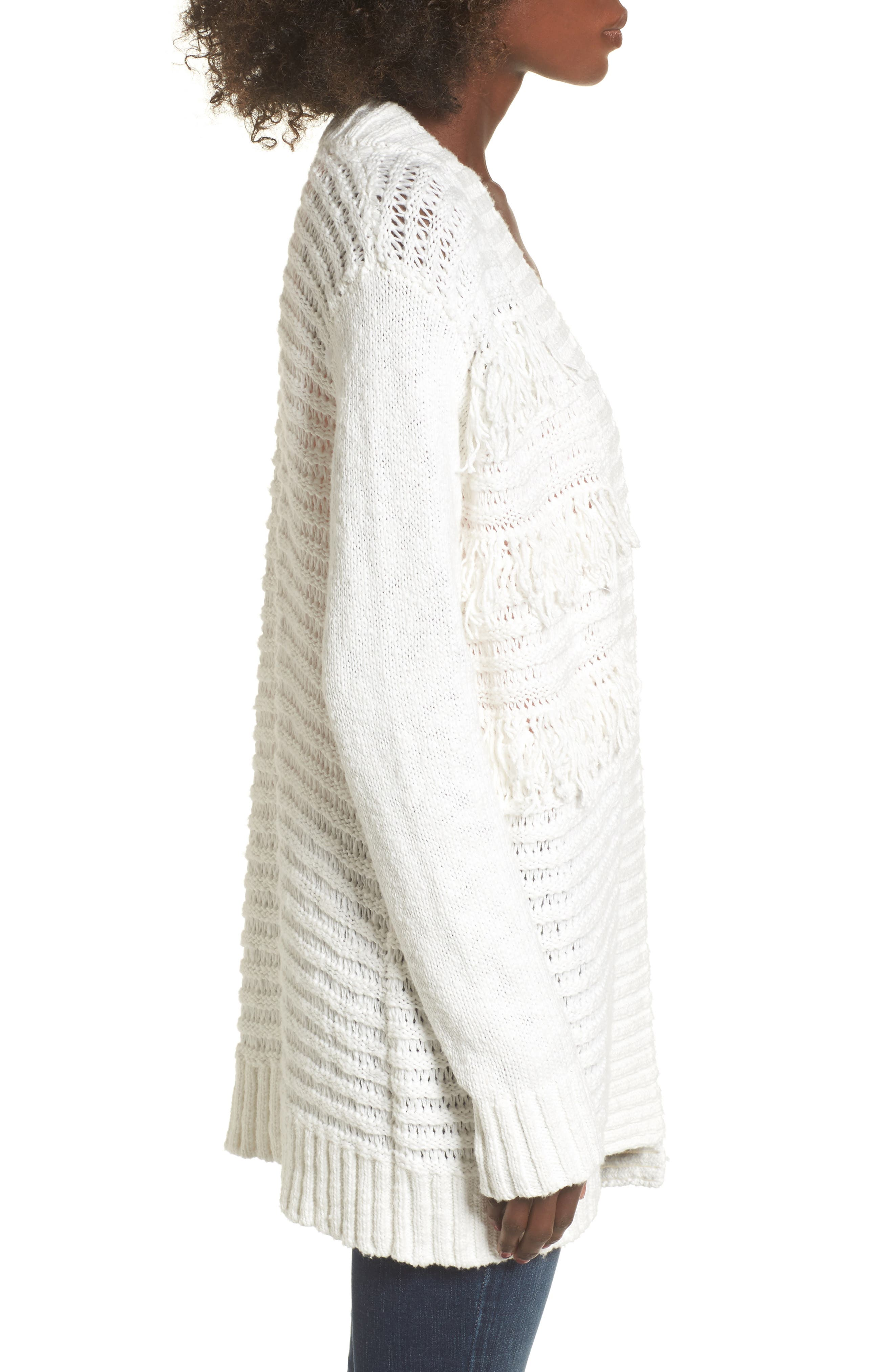 Open Cardigan,                             Alternate thumbnail 4, color,                             On The Prowl/ Ivory