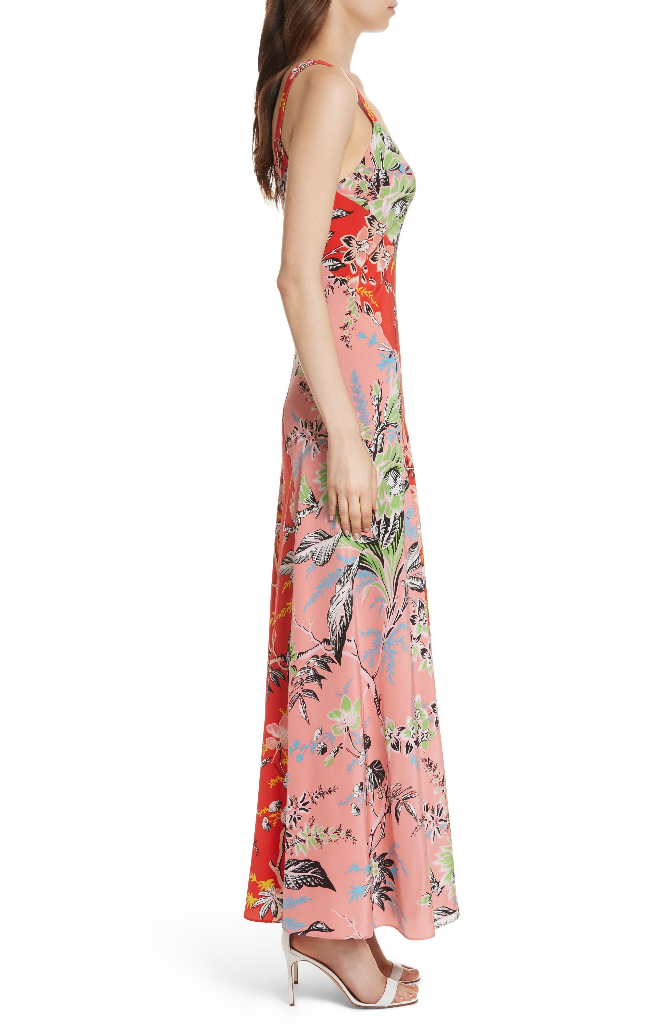Diane von Furstenberg Paneled Silk Maxi Dress,                             Alternate thumbnail 3, color,                             Avalon Poppy/ Avalon Hyacinth
