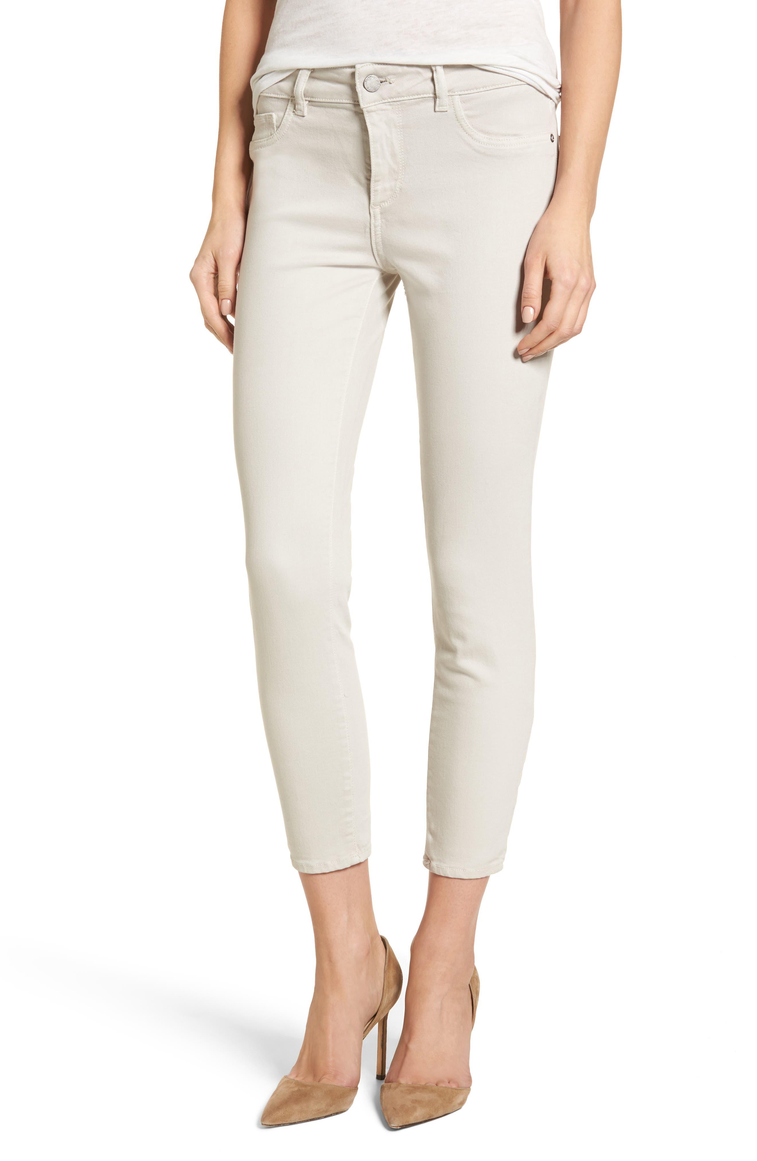 Florence Crop Skinny Jeans,                         Main,                         color, Bone