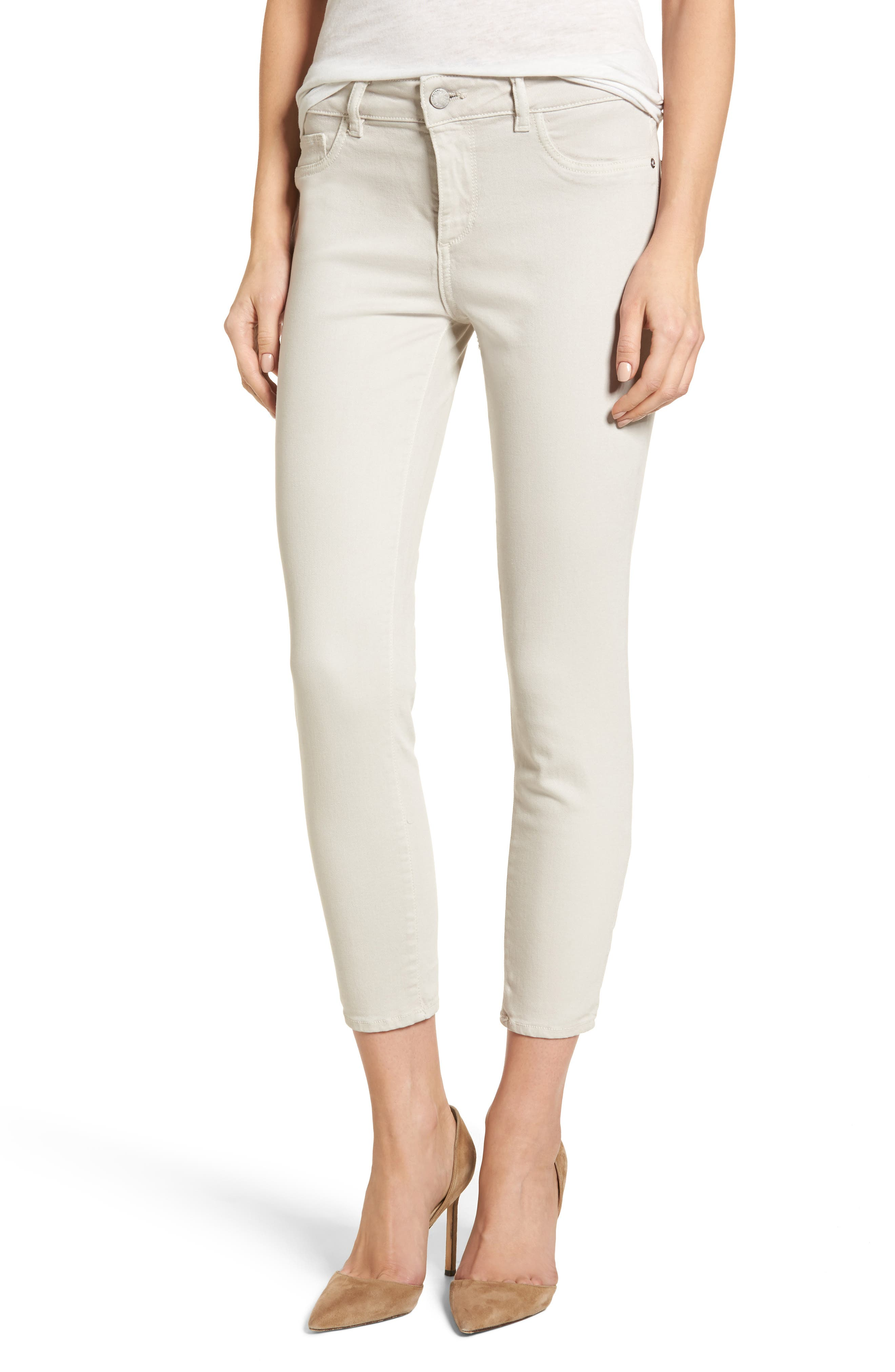 Florence Crop Skinny Jeans,                         Main,                         color, Bone
